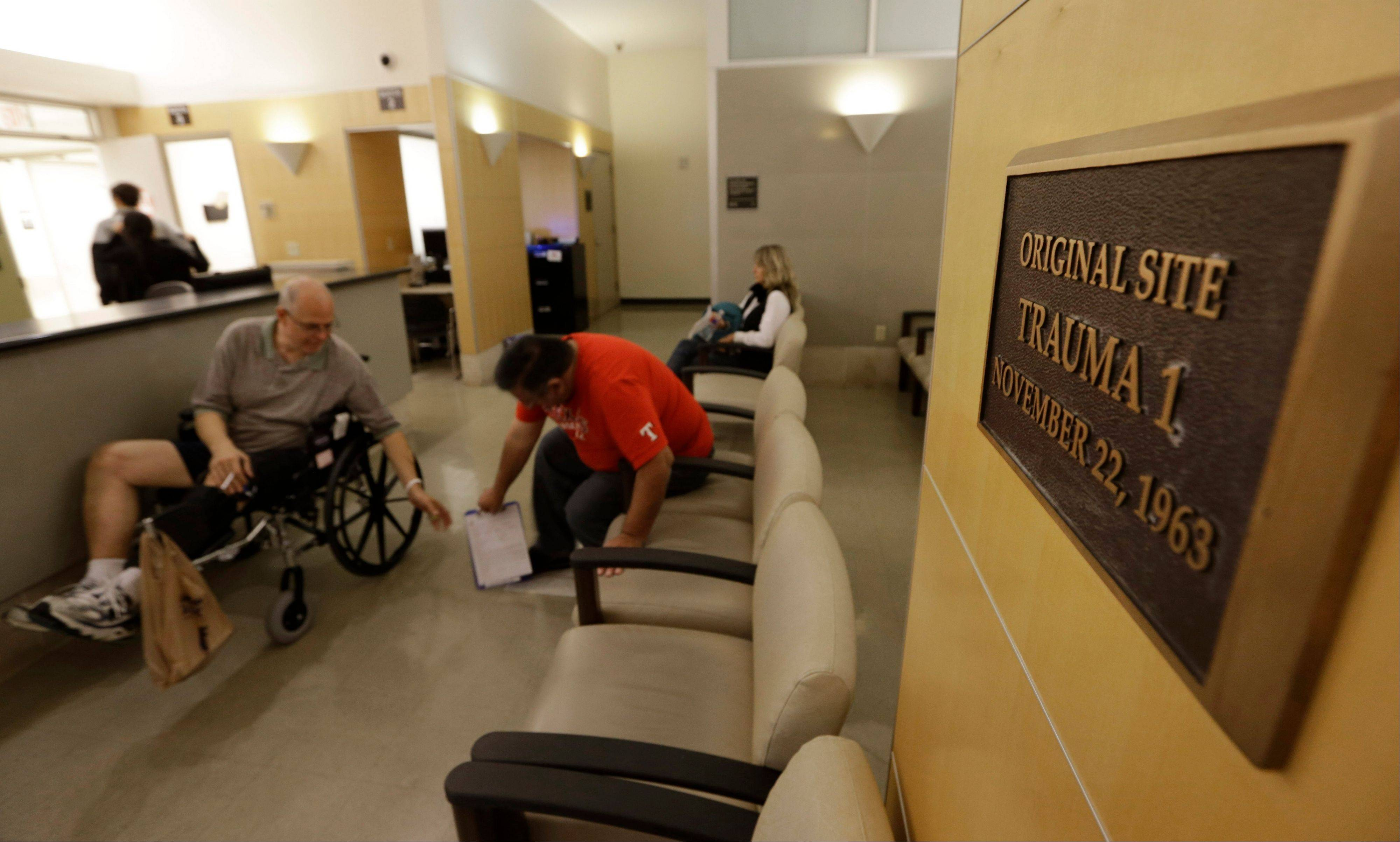 A plaque marks the original site of Trauma Room 1 where doctors rushed to treat mortally wounded President John F. Kennedy at Parkland Memorial Hospital in Dallas. The room is now the radiology department at the hospital.