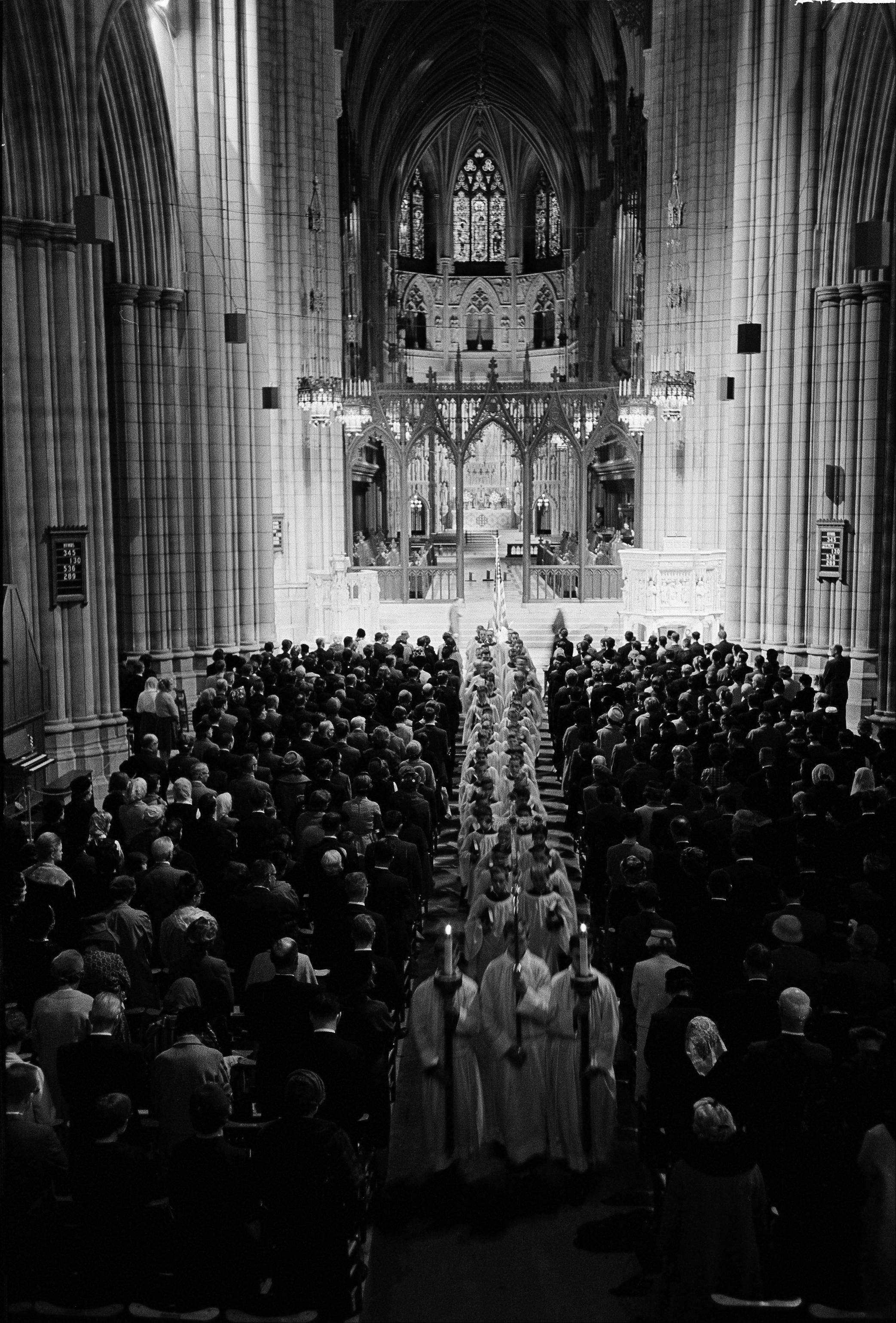This is a general view inside the Washington Cathedral during a memorial service for President John F. Kennedy, Nov. 23, 1963.