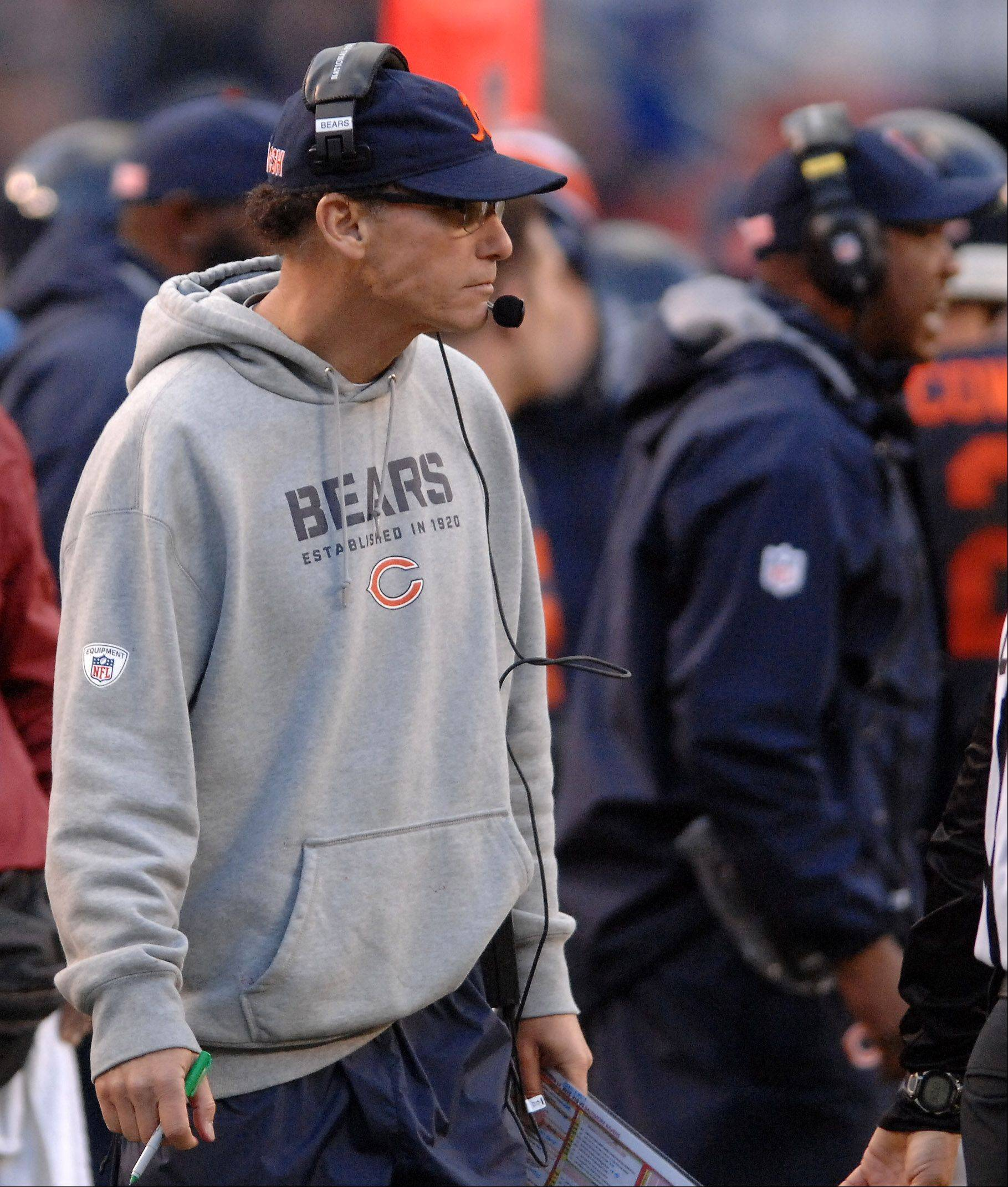 Chicago Bears head coach Marc Trestman watches the second quarter action during Sunday's game in Chicago.