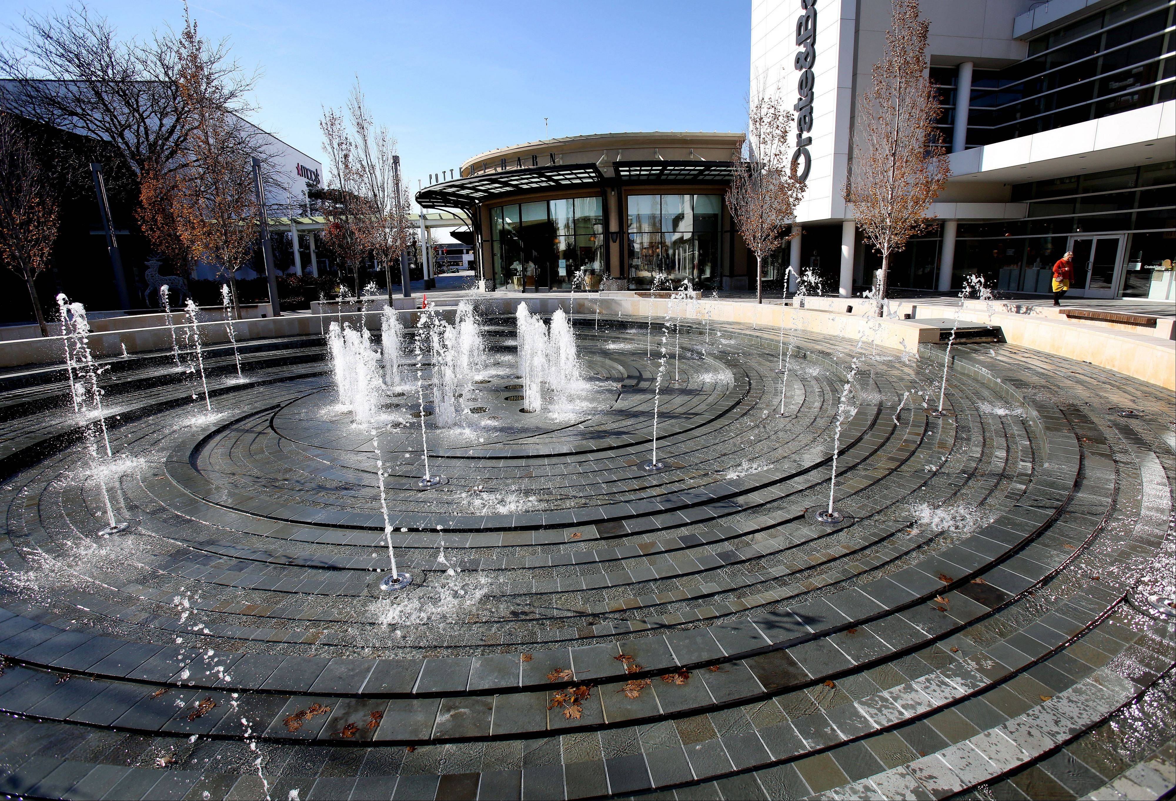 Oakbrook Center officials say the focal point of the newly renovated mall is an all-weather vortex fountain near Crate & Barrel and Macy's.