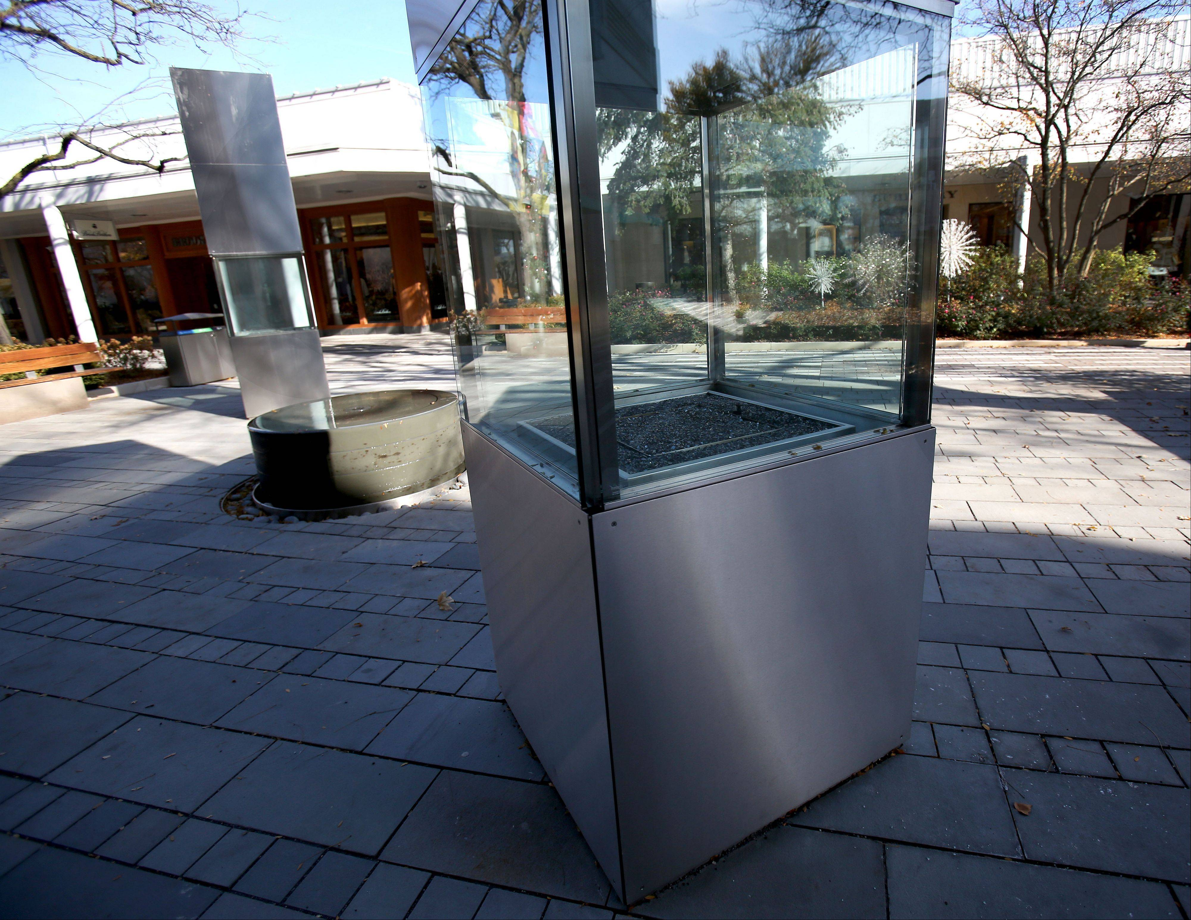 Fire totems and button fountains were added as part of a large renovation of Oakbrook Center.