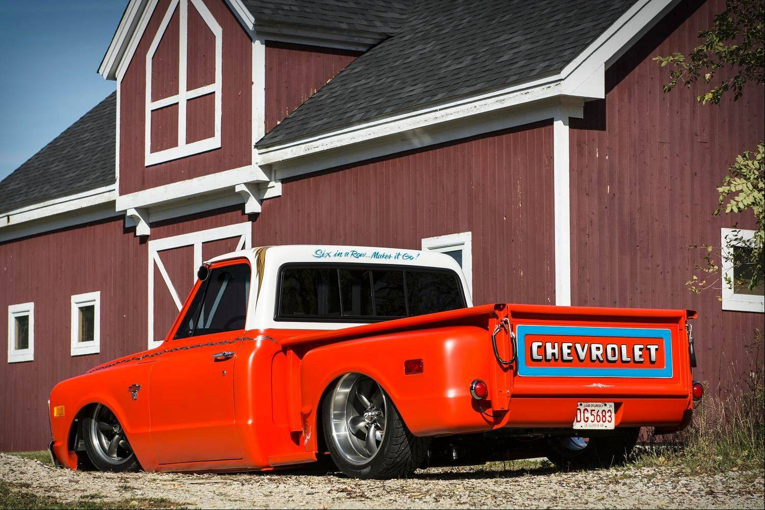 An air suspension lowers the 1968 Chevy pickup close to the ground.
