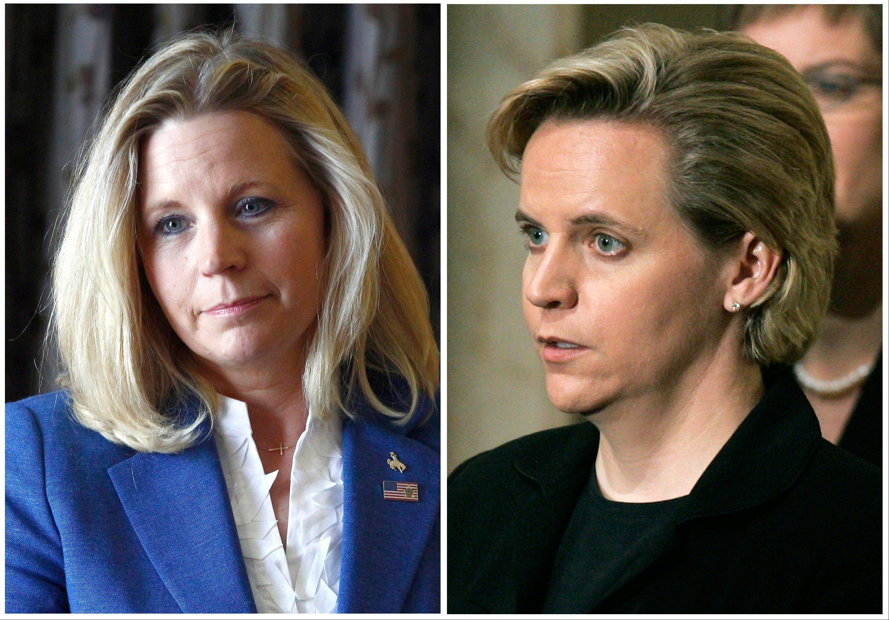 Liz Cheney, left, is running in a Republican primary for a U.S. Senate seat from Wyoming. She disagrees with her sister Mary Cheney, right, who is married to Heather Poe, over the topic of same-sex marriage.