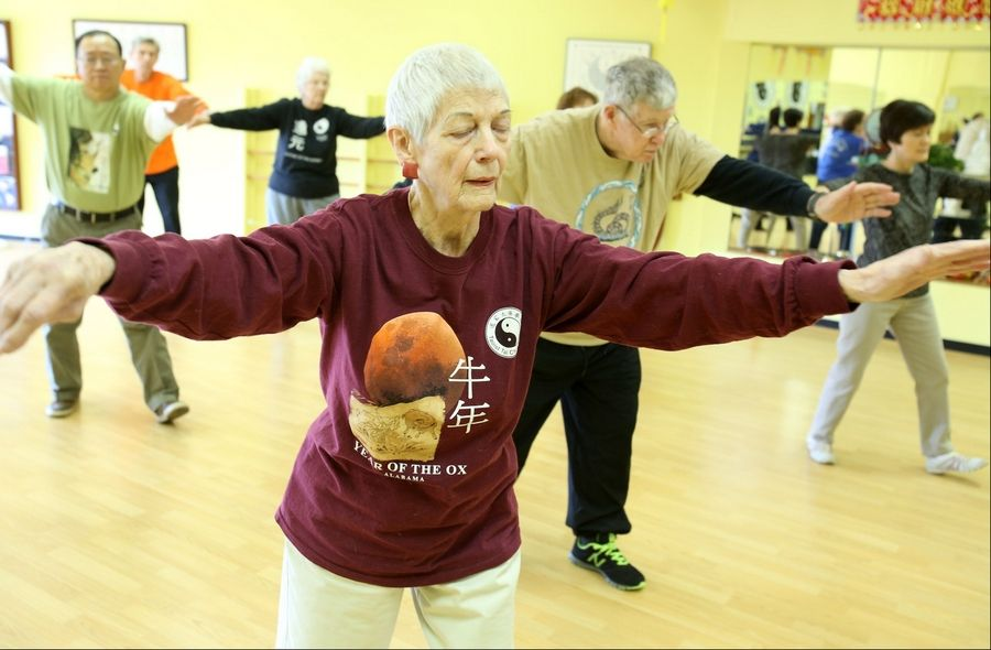 Eleanor Peet of Rolling Meadows goes through the motions in a recent Tai Chi class.