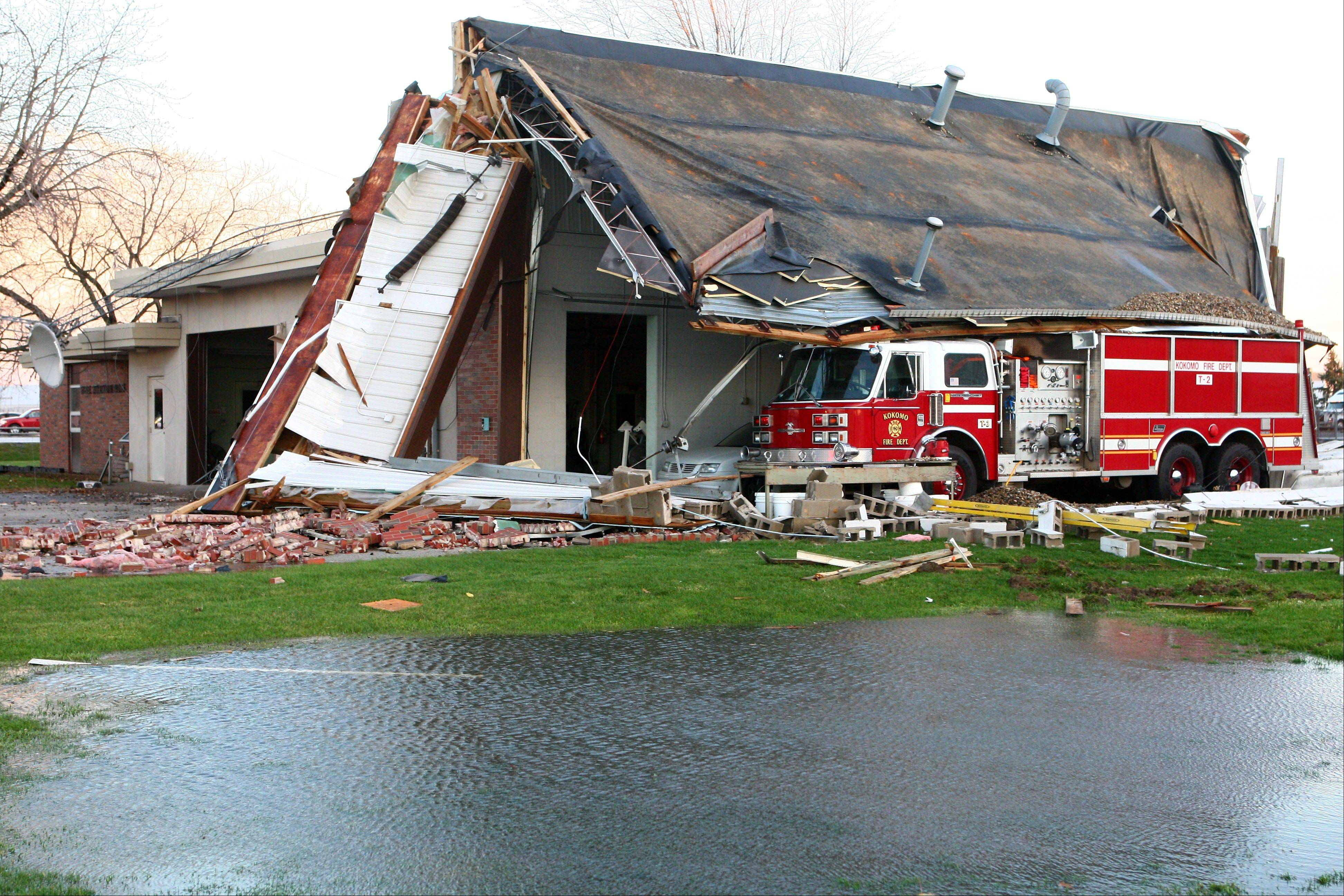 Sunday's tornado caused major damage to Fire Station No. 6 in Kokomo, Ind. on Nov. 17, 2013.