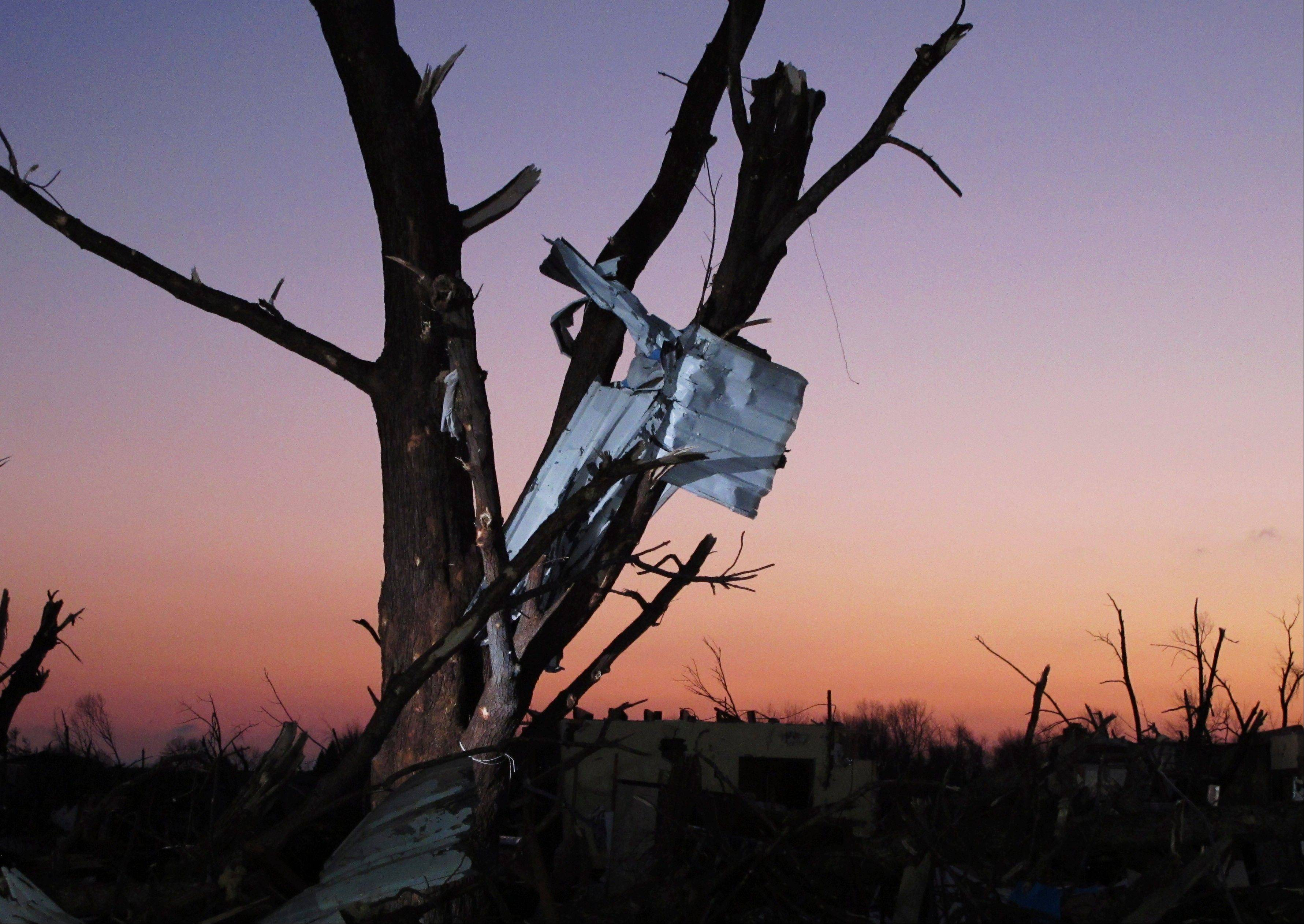 Debris is strewn in a tree Washington, Ill., early Monday morning, Nov. 18, 2013, after a tornado leveled hundreds of homes in the city the day before.