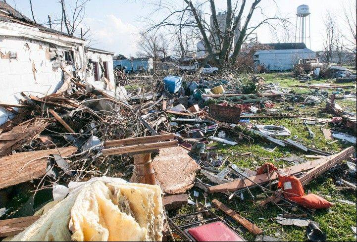 Damage following the likely tornado touch down in Gifford, Ill on Sunday, Nov. 17, 2013.