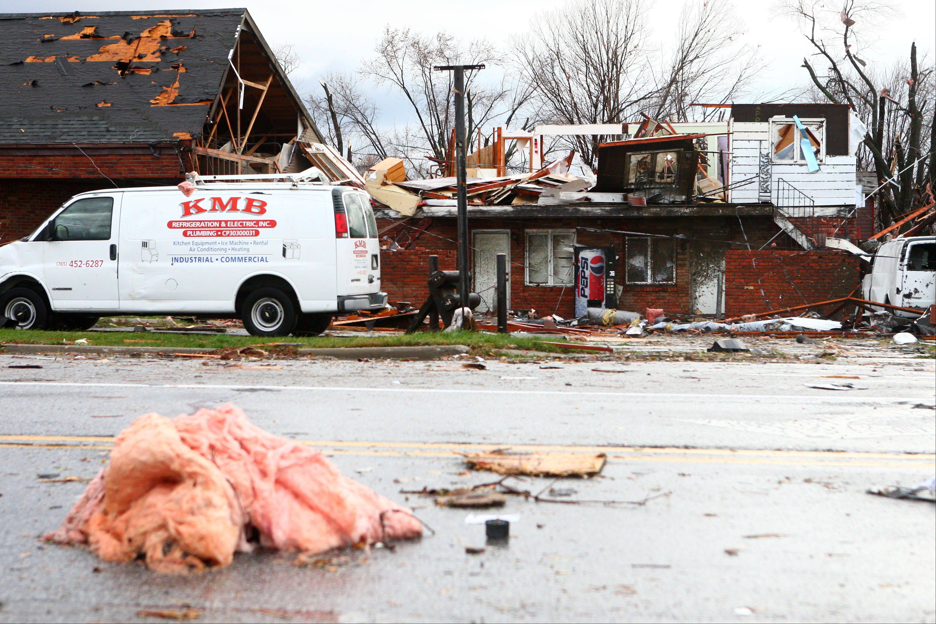 Severe storms caused damage to businesses along Hoffer Street in Kokomo, Ind., on Sunday, Nov. 17, 2013.
