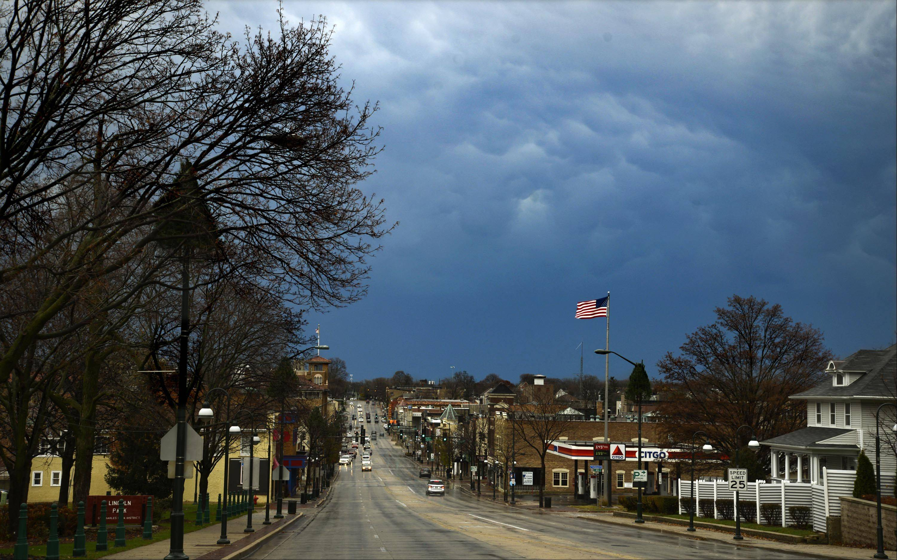 The eastern sky turns a cloudy blue over St. Charles yesterday afternoon.