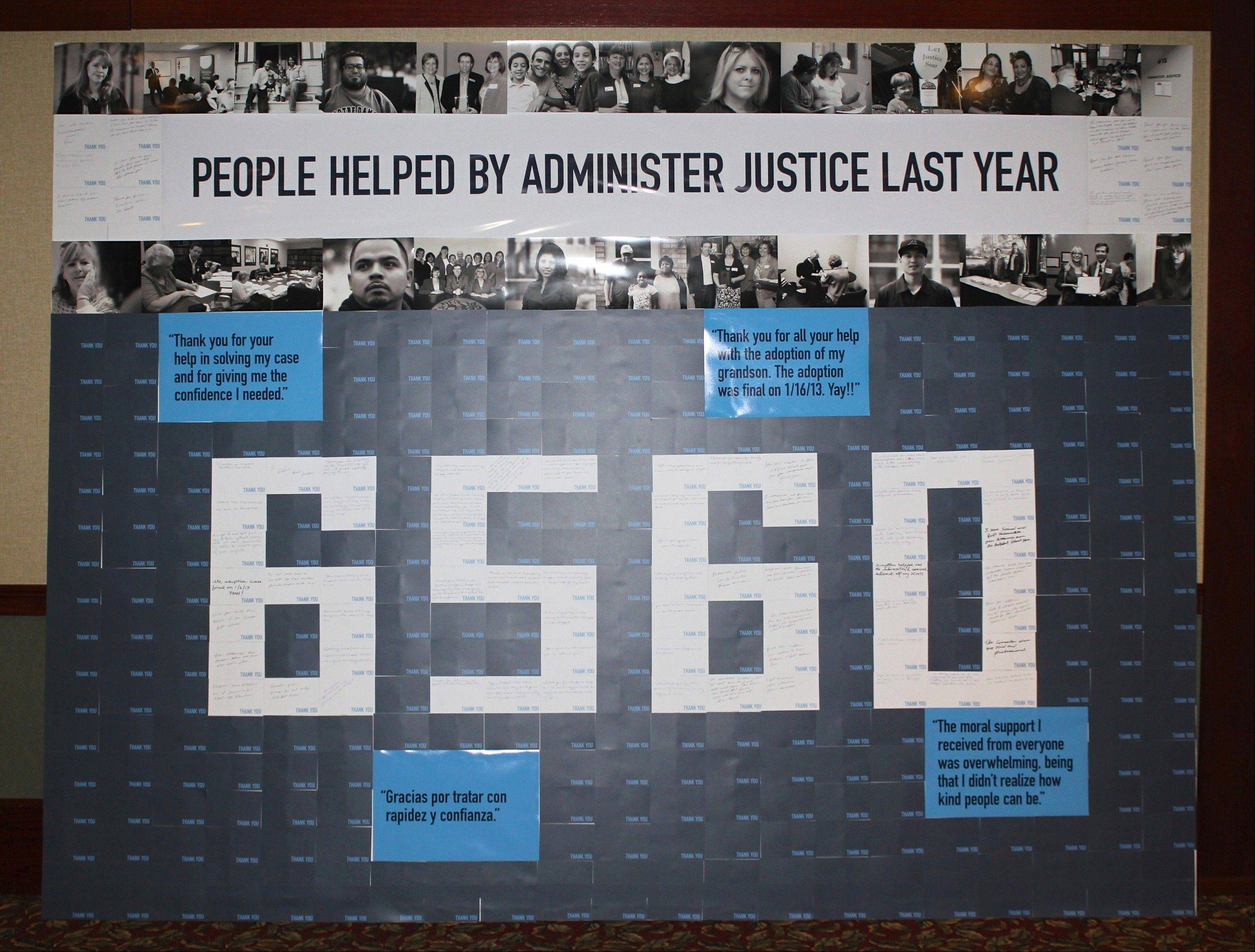 "At the ""My Neighbor Myself Banquet"" a wall constructed of actual thank you notes from clients composes the number '6,560' depicting the number of clients assisted by Administer Justice last year."