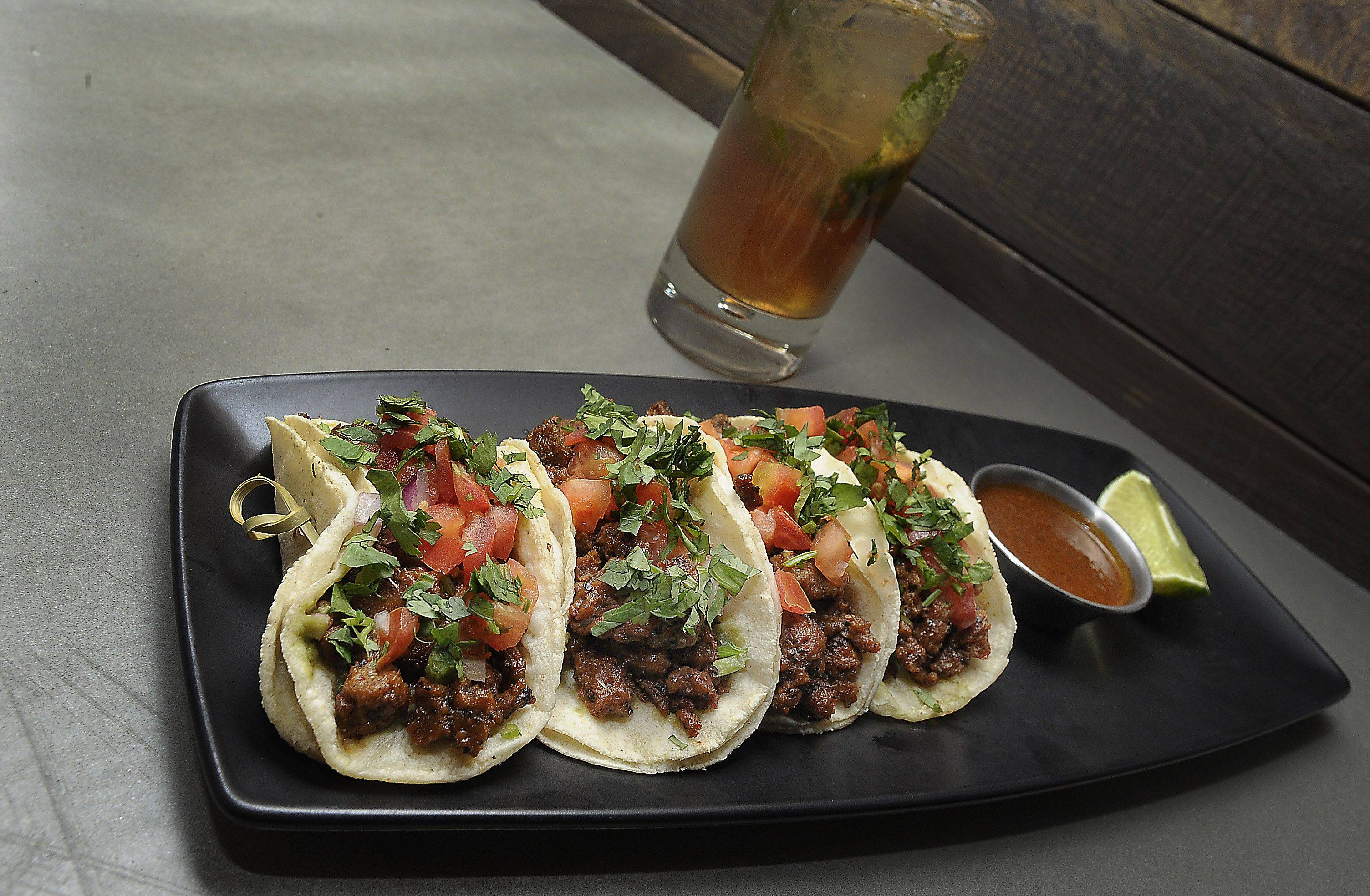 Prasino's chorizo seitan tacos can be enjoyed as an appetizer or a light meal.