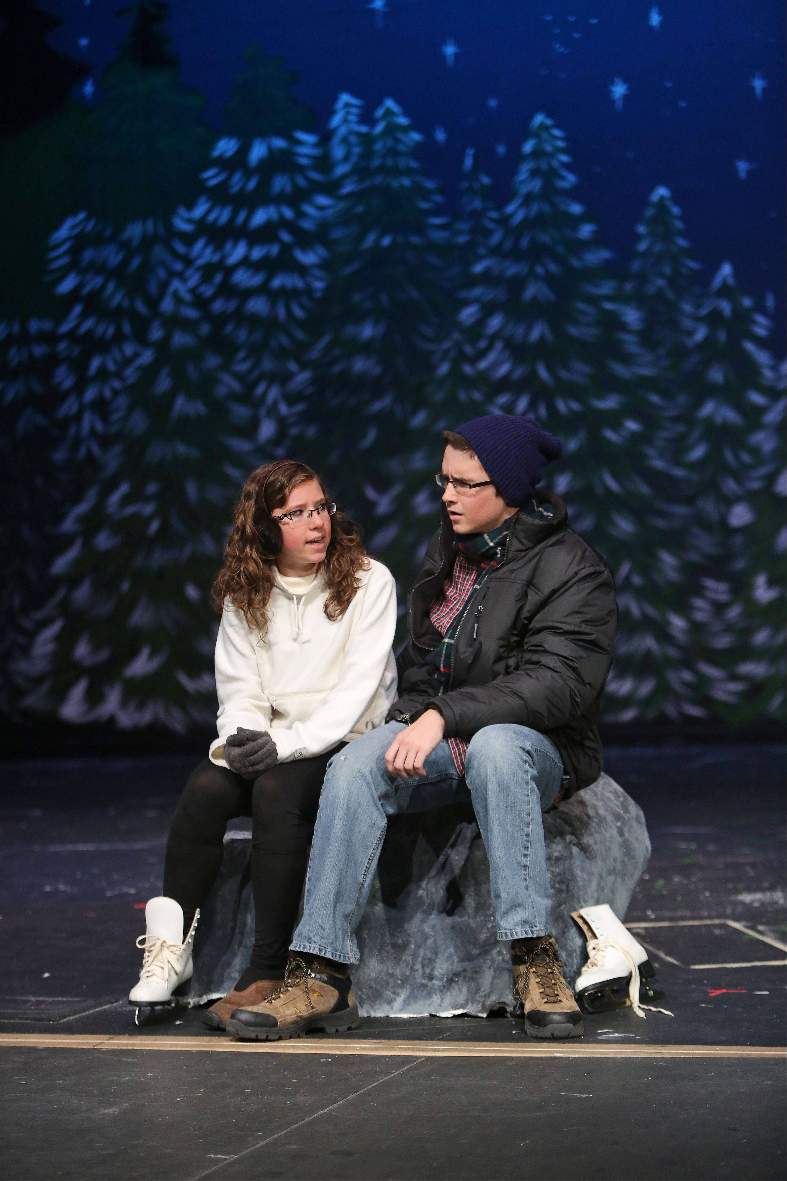 "Senior Paulina Piaseck plays the role of Marci and senior Trevor Matusik plays the role of Phil as Grant Community High School holds their dress rehearsal for their production of ""Almost, Maine"" Wednesday in Fox Lake."