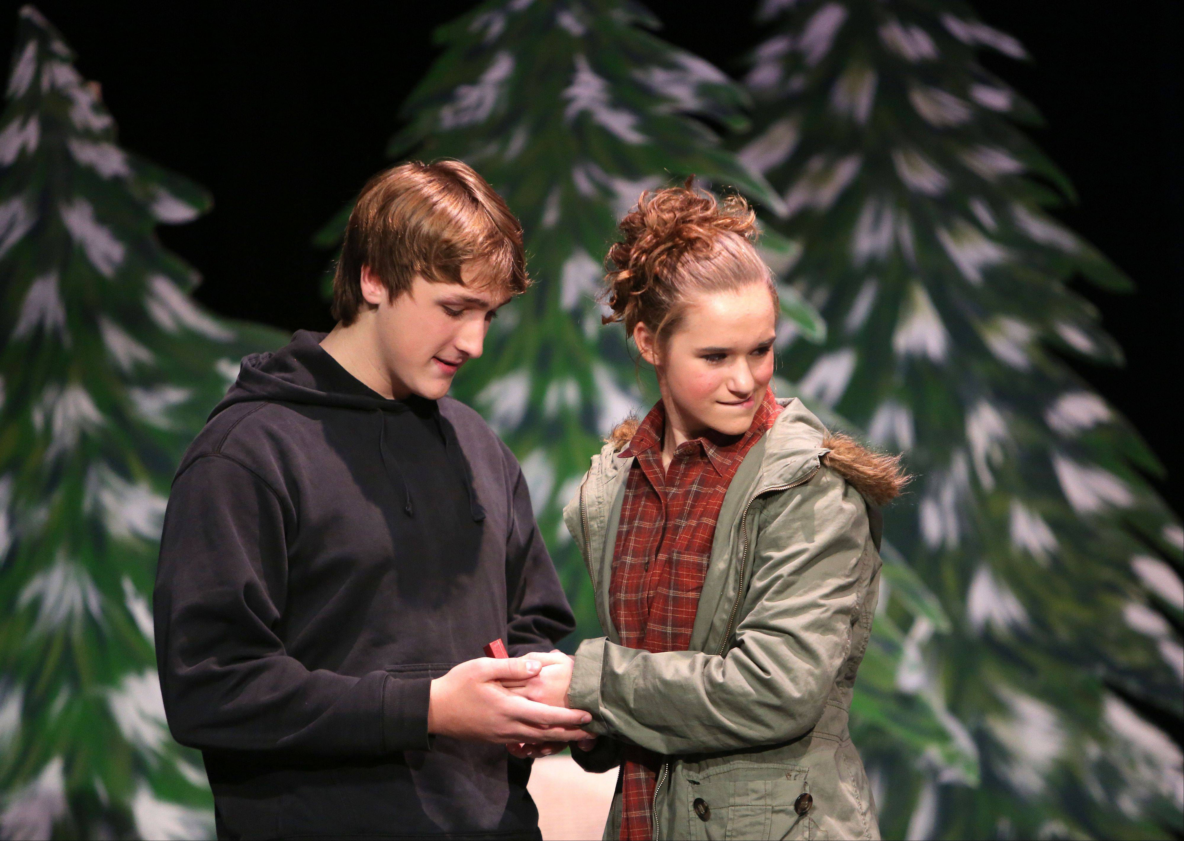 "Junior Tony Cantinella plays the role of Lendall and sophomore Hannah McCall plays the role of Gayle as Grant Community High School holds their dress rehearsal for their production of ""Almost, Maine"" Wednesday in Fox Lake."