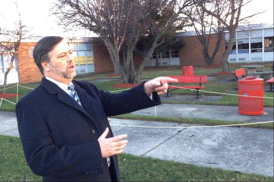 Mundelein High Business Manager Andy Searle describes where a new classroom wing could be built.