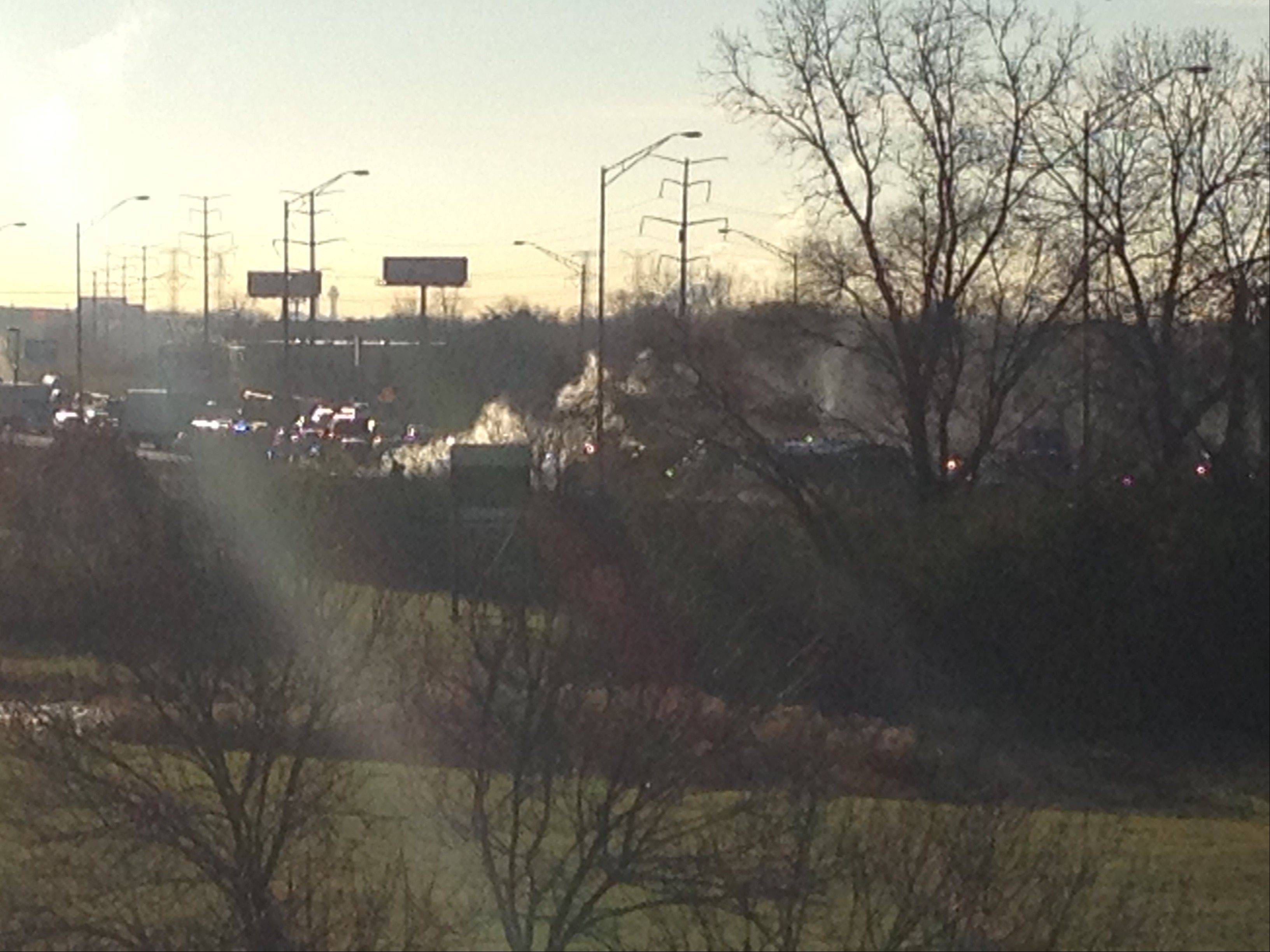 A car fire on westbound I-90 near Arlington Heights Road is causing some delays this morning.