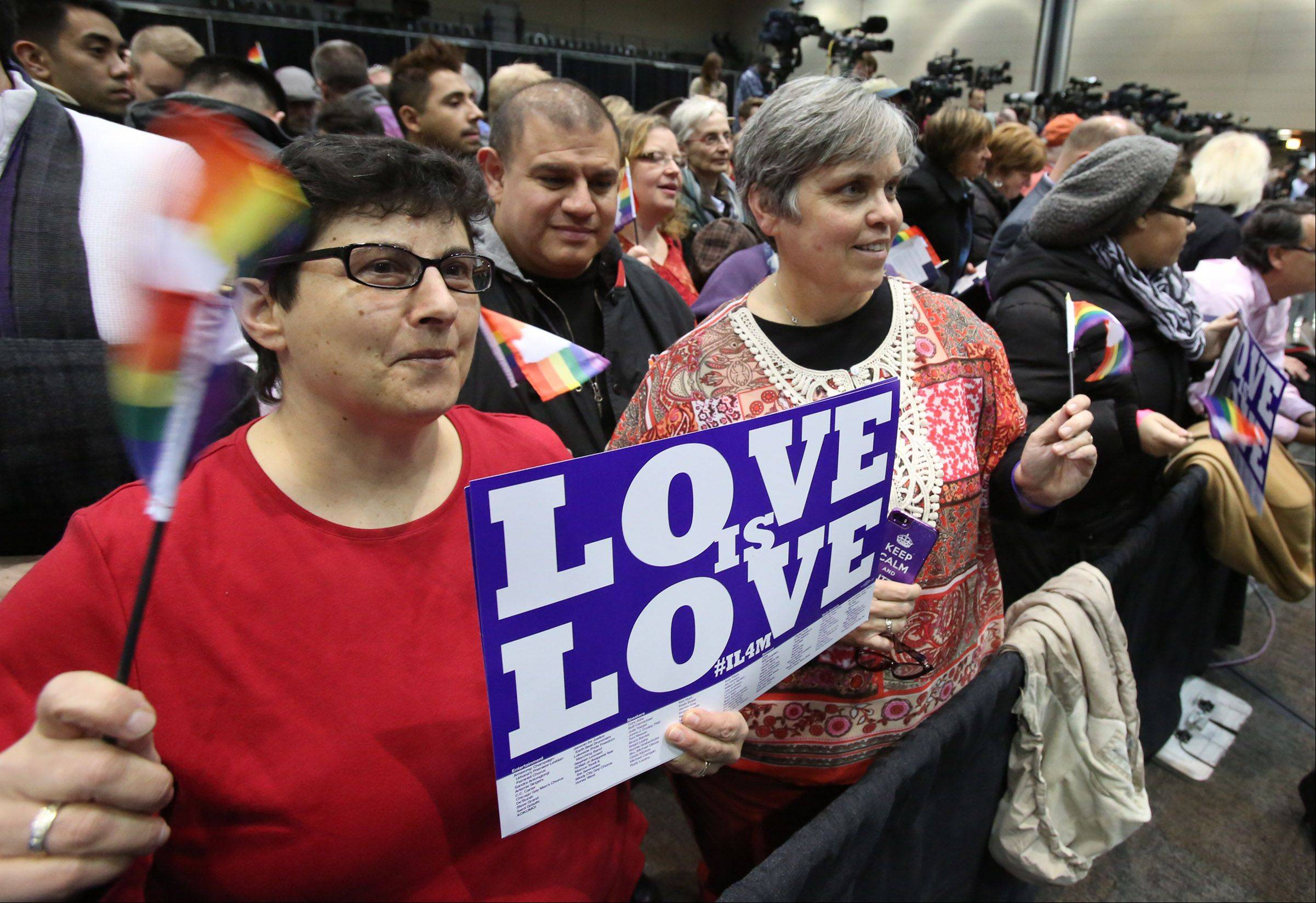 Donna Corpolongo, left, and Geri Winters, both of Lombard, celebrate Wednesday as Gov. Pat Quinn signs into law a bill that legalizes same-sex marriage in Illinois.