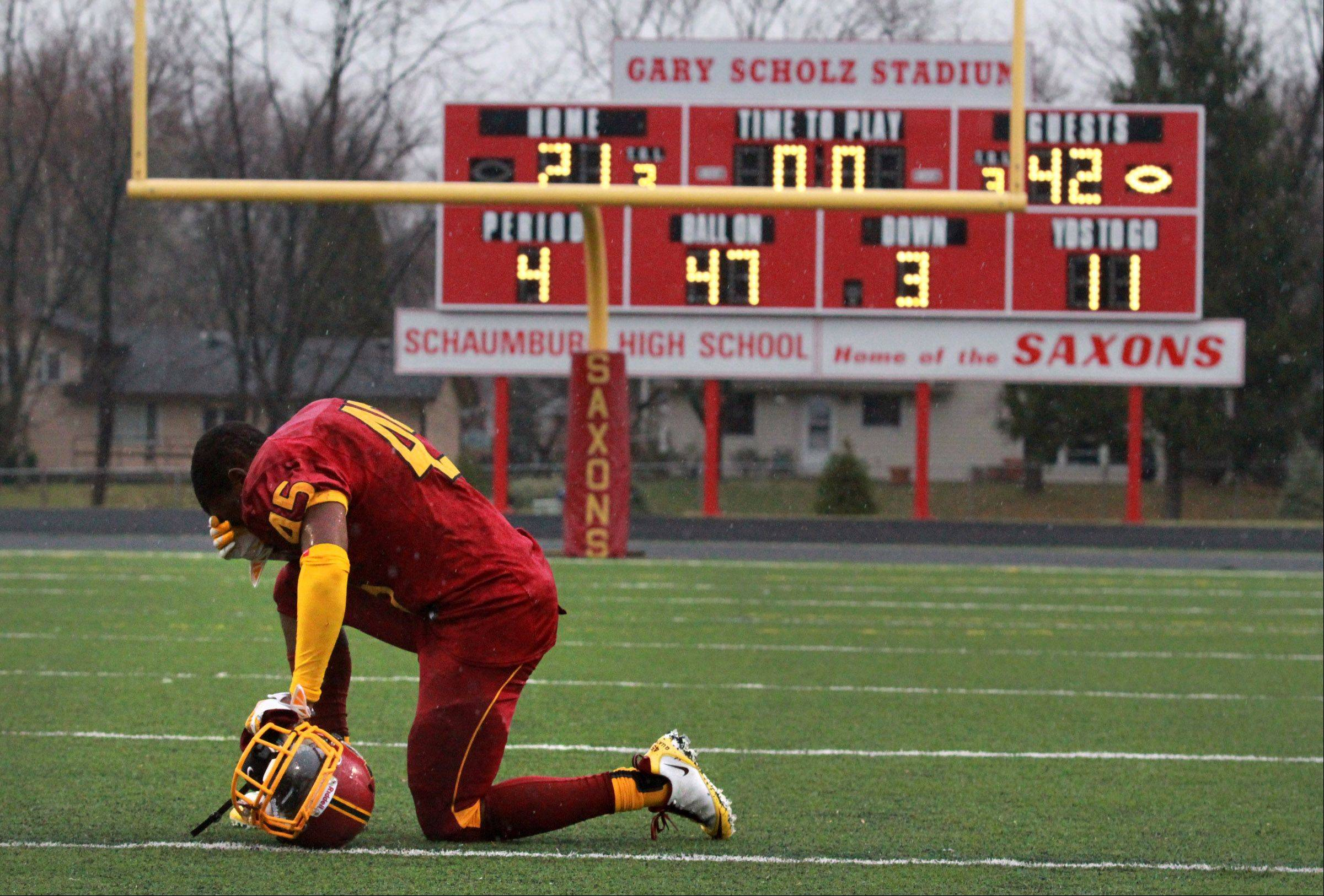 Schaumburg's Edwin Kelly reflects on Saturday's loss to Glenbard West.