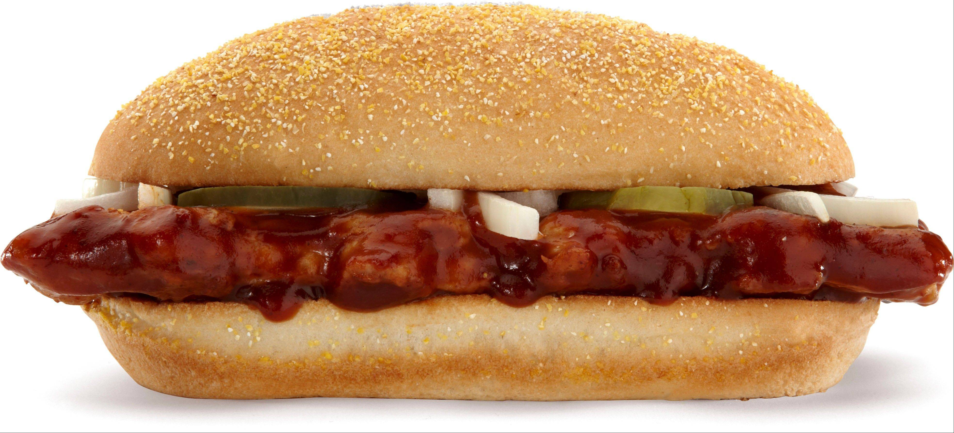 This product image of McDonald's shows their McRib sandwich. McDonald's Corp. said Wednesday, Nov. 20, 2013, that the McRib won't be available nationally in 2014. The fast-food chain says it�s leaving it up to local franchises to decide whether to offer the pork sandwich, which comes with pickles, onions and barbecue sauce. That�s a change from the past three years, when McDonald's had put the McRib on the national menu as a way to boost sales in the second half of the year.