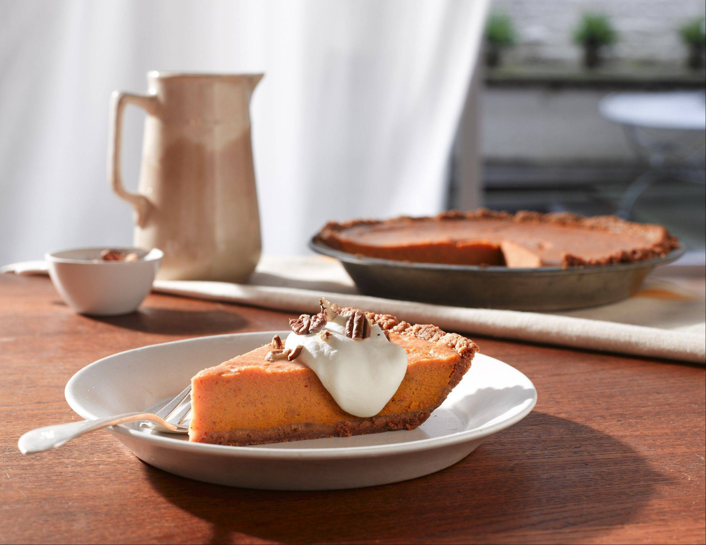 Fluffy Sweet Potato Bourbon Pie with Ginger Whipped Cream and Toasted Pecans