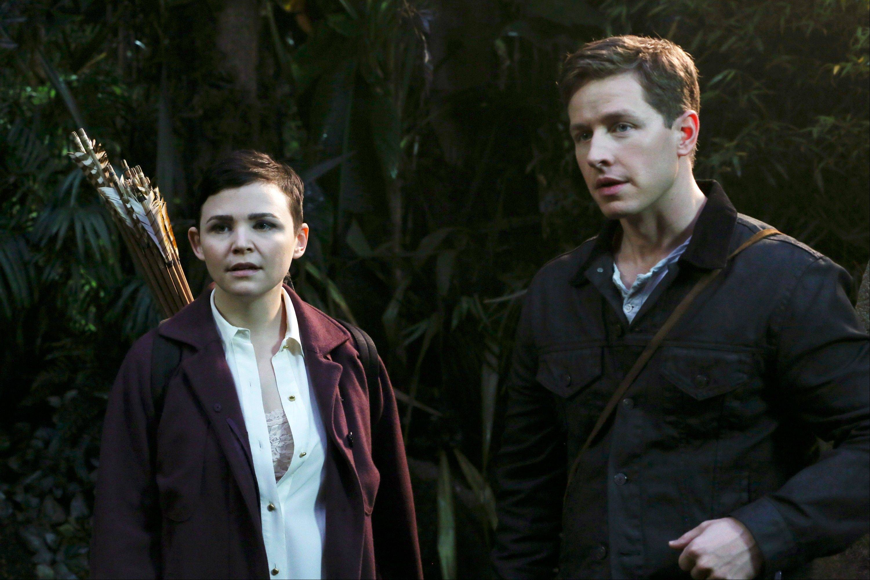 "Ginnifer Goodwin, left, and Josh Dallas in a scene from ""Once Upon a Time."" The actors, who play Snow White and Prince Charming on the show, are expecting their first child together."
