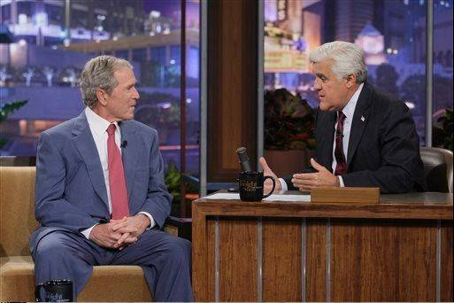 "President George W. Bush showed off his painting and poked fun of his post-White House years on the ""The Tonight Show"" with Jay Leno on Tuesday."