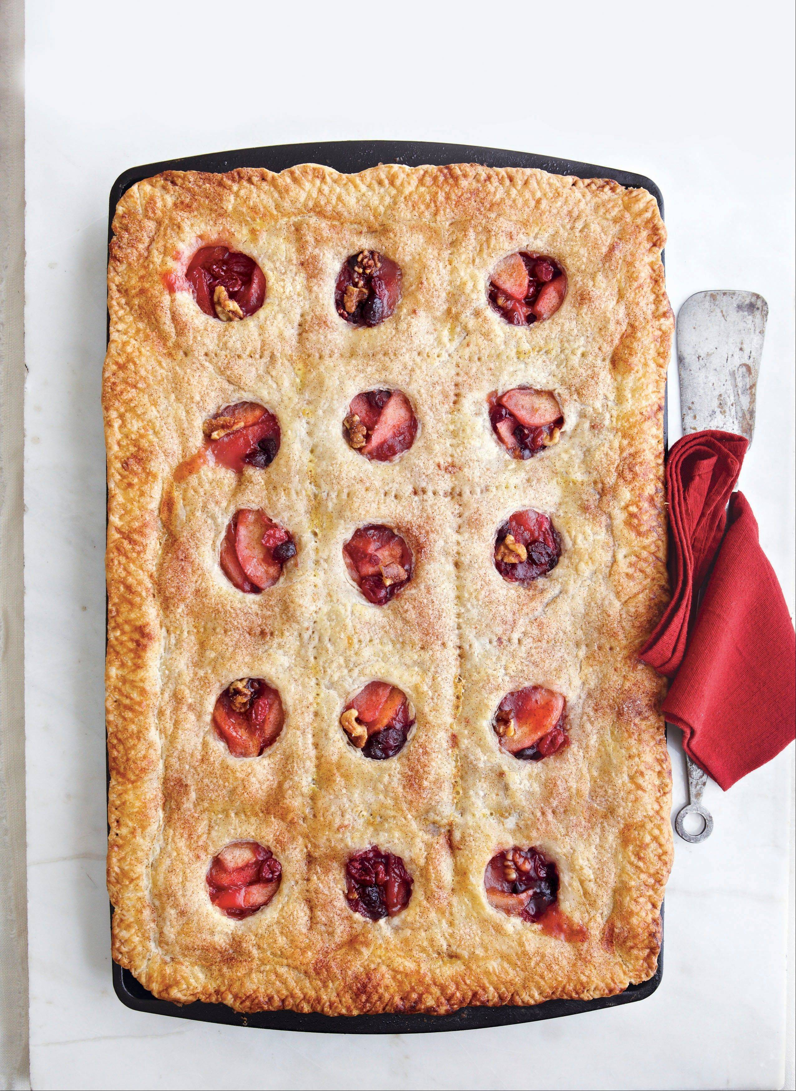 Fresh and dried cranberries bring a double dose of flavor to this pear slab pie.