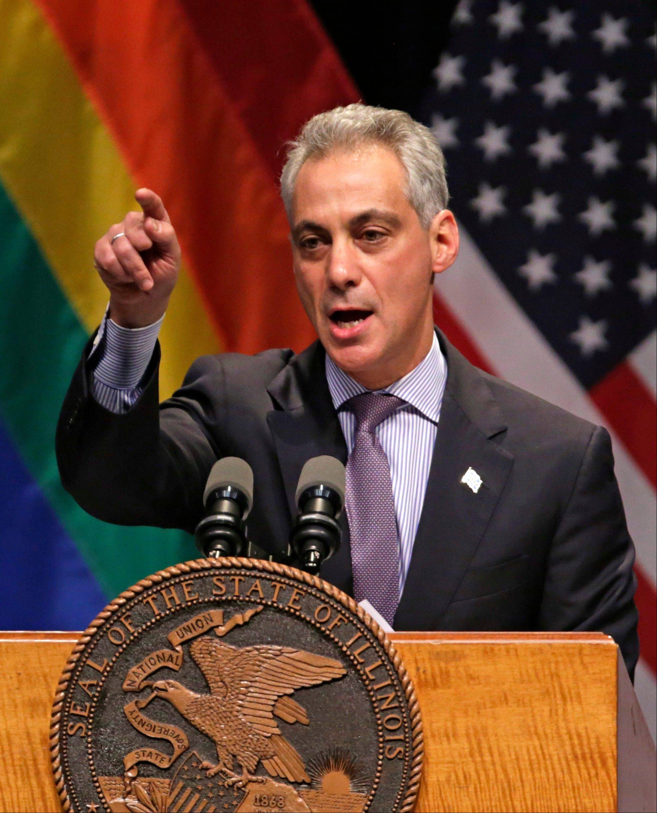 Chicago Mayor Rahm Emanuel speaks before Illinois Gov. Pat Quinn signs the Religious Freedom and Marriage Fairness Act into law.