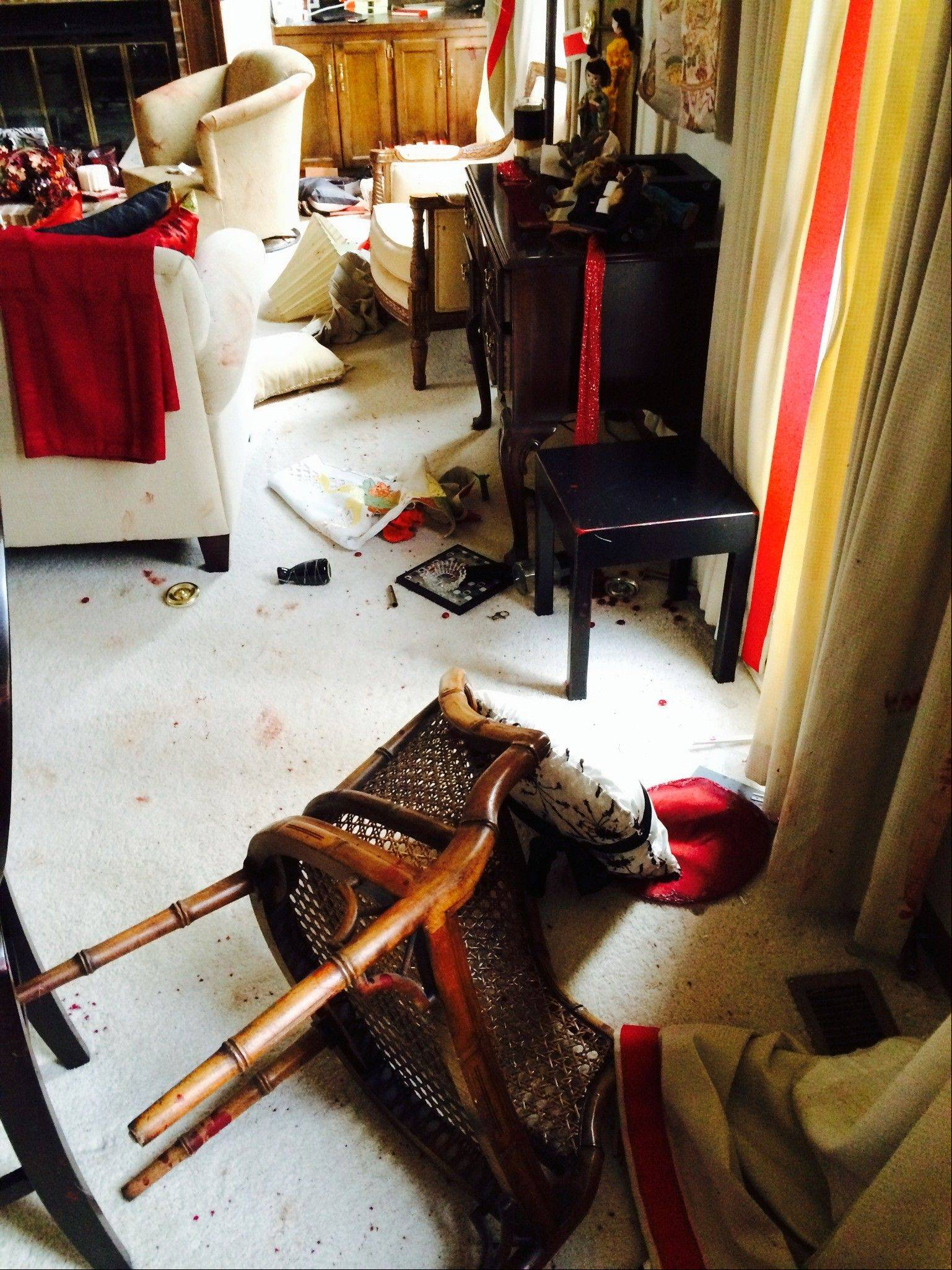 A six-point buck crashed through a window to get into Keith Mohr's townhouse near Sugar Grove last Friday, and caused extensive damage, including to the living room, its eventual escape route.