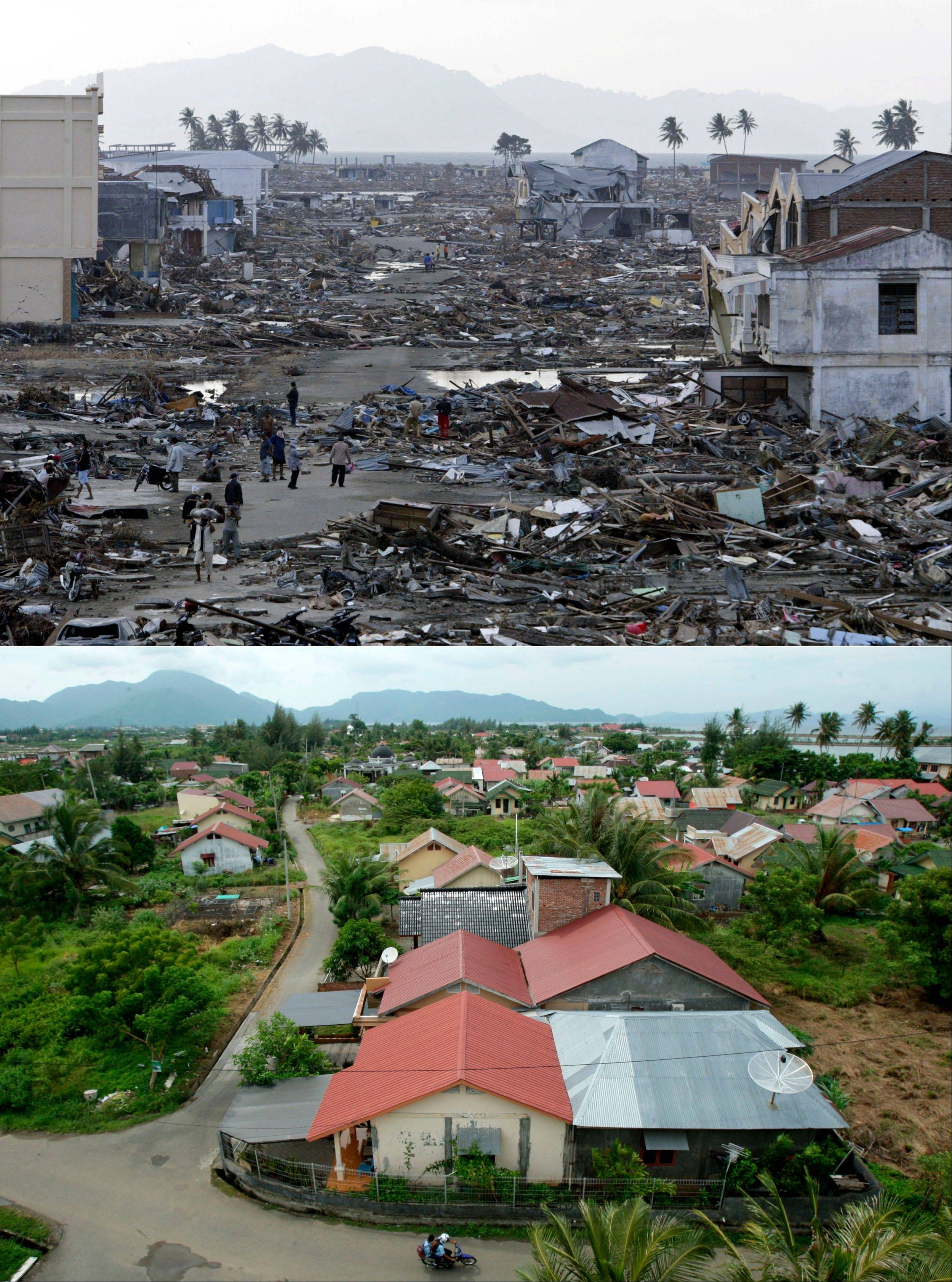 This combination of photos shows areas affected by the earthquake-triggered tsunami which hit Indonesia, on Dec 25, 2004. The top photo shows a devastated area on Dec 31, 2004, six days after the tsunami. The bottom photo shows an area with rebuilt housing on Nov. 19, 2013.