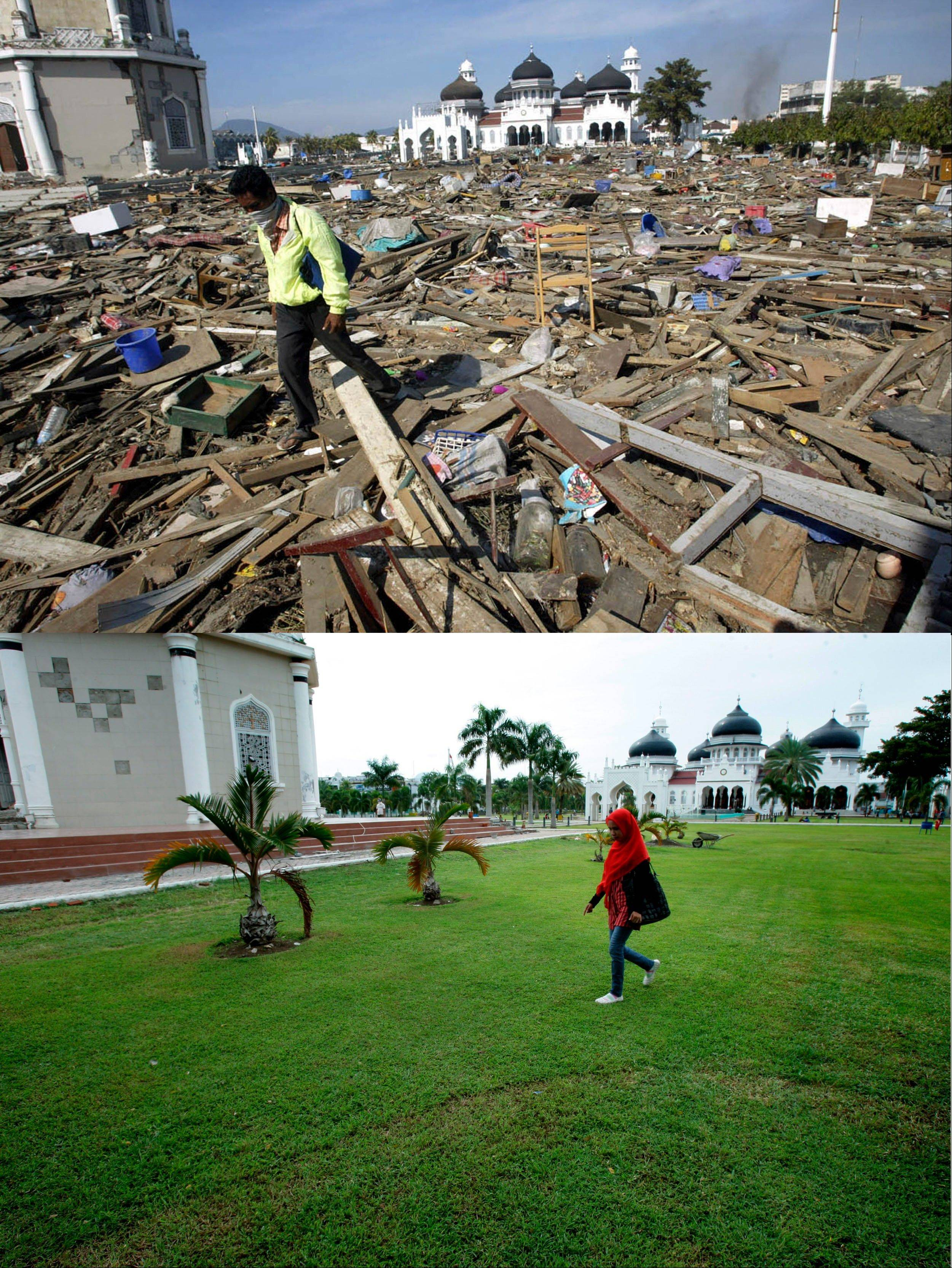 This combination of photos shows an area affected by the Dec. 25, 2004 tsunami which hit Indonesia. The top photo shows debris near the Great Mosque, background, on Dec. 29, 2004, four days after the tsunami. The bottom photo shows the same area on Nov. 19, 2013.