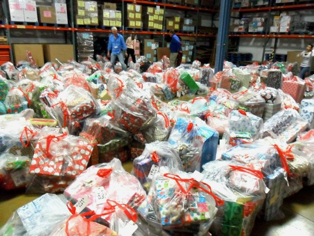 Christmas gifts for needy children arranged in HSP's warehouse during the Christmas Offering in 2012.
