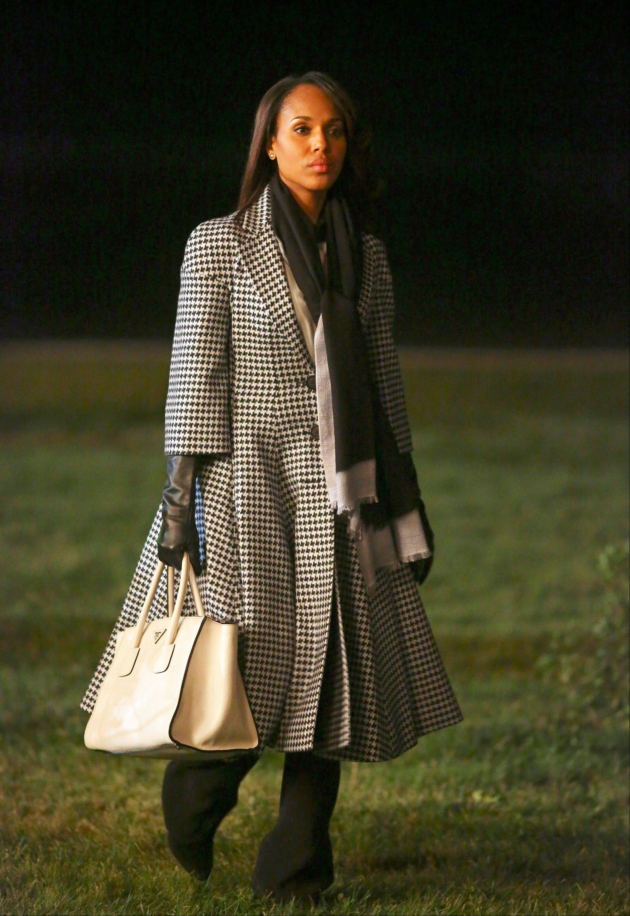 "Kerry Washington as Olivia Pope wears a Christian Dior coat in the political drama series ""Scandal."" The series, about a Washington fixer, airs at 9 p.m. Thursdays."