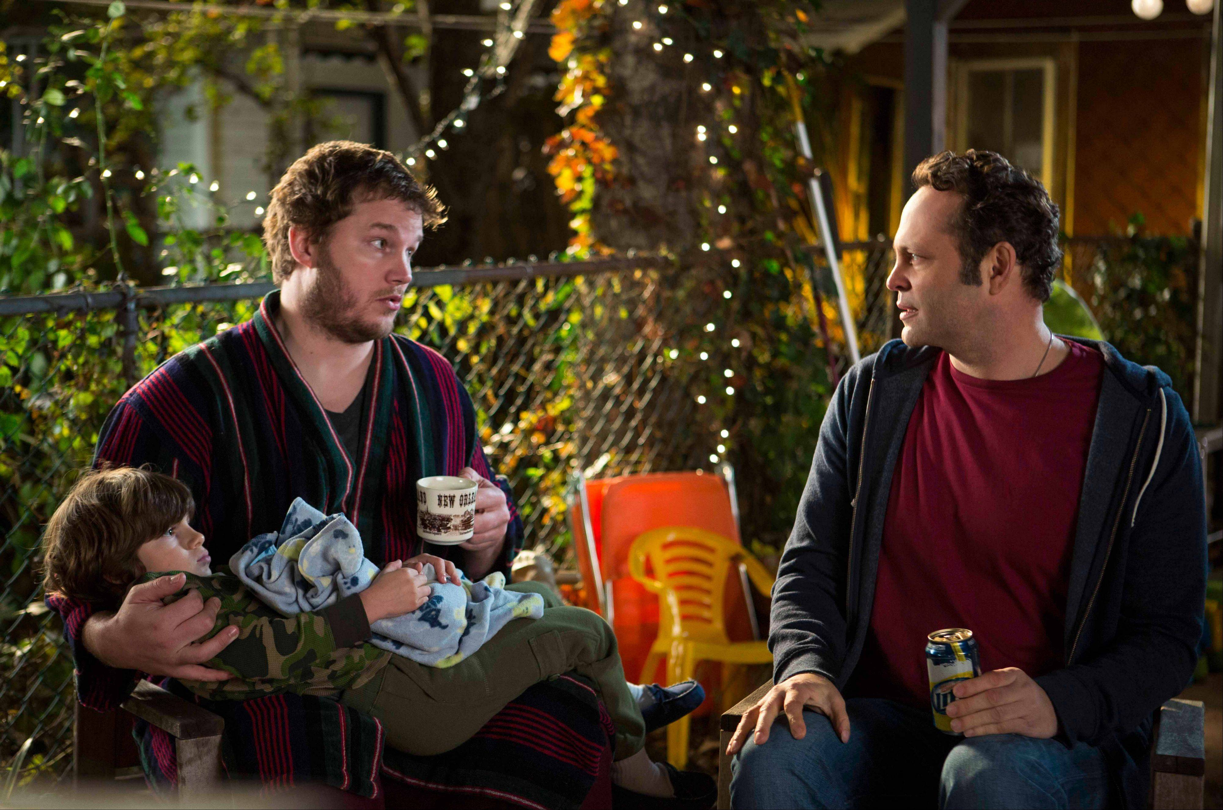 "Brett (Chris Pratt), left, hates fatherhood while his pal David (Vince Vaughn) has fathered 533 children in ""Delivery Man."""