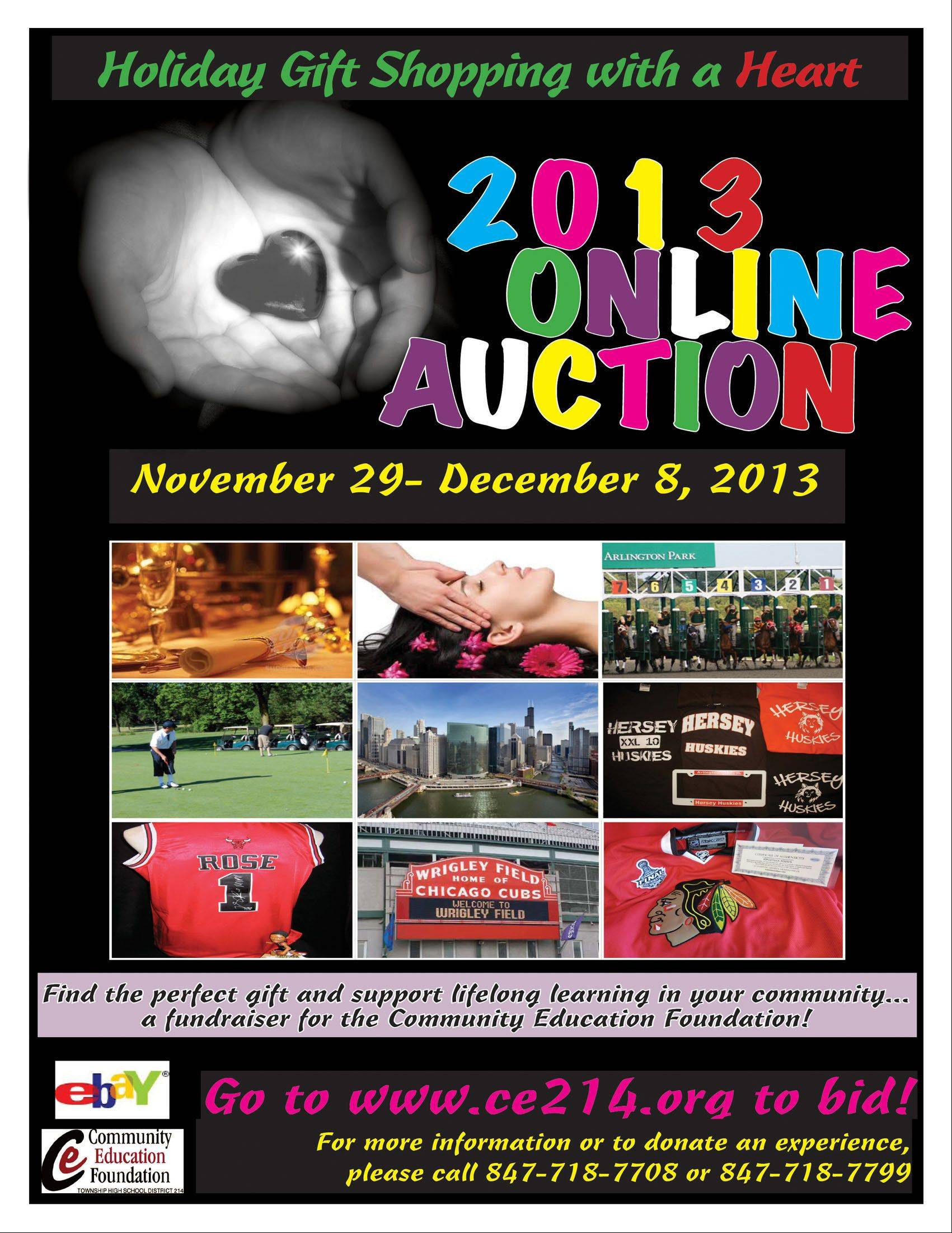 This is the flier promoting the Community Education Foundation's online auction.
