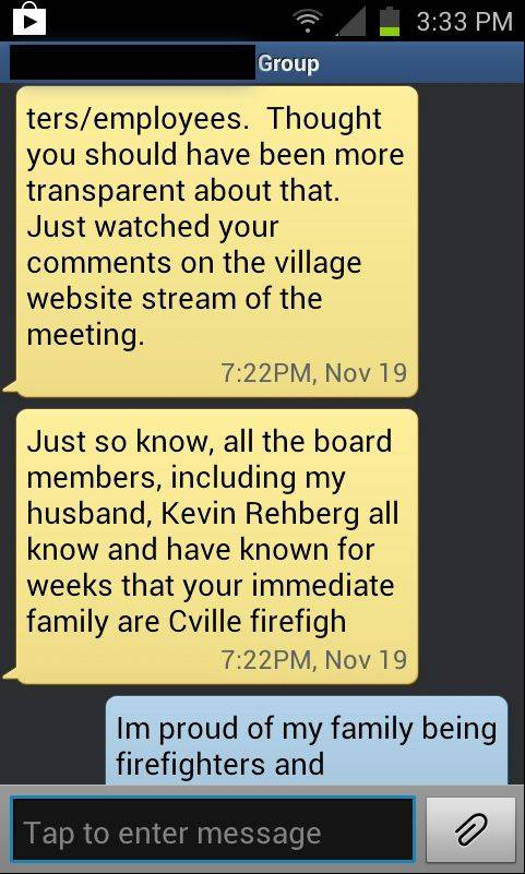 This is the text message Carpentersville resident Stacy Klodz said she received from Regina Rehberg, Trustee Kevin Rehberg's wife, shortly after Klodz finished addressing the board about staffing issues within the Carpentersville Fire Department.