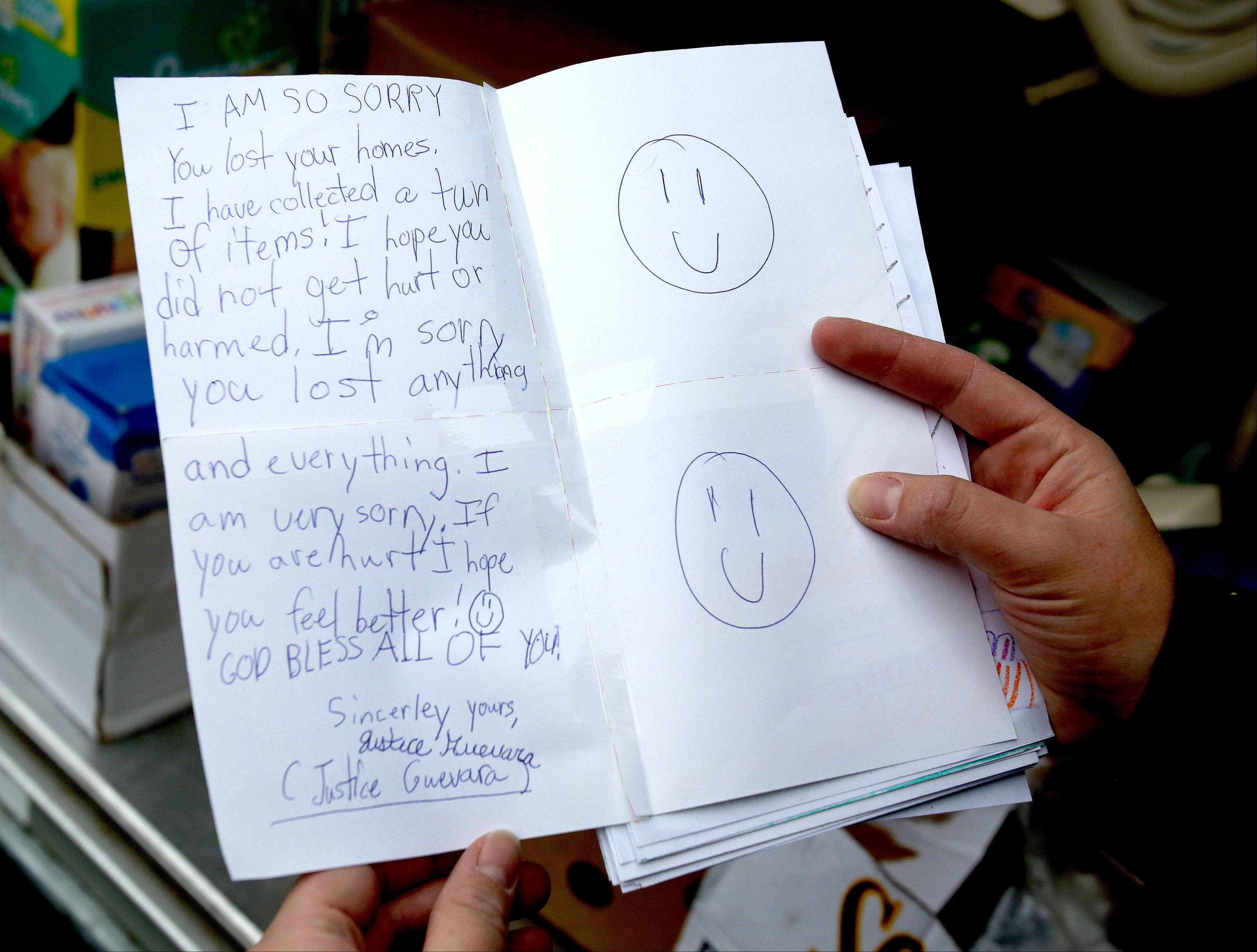 Jennifer Guevara's daughter wrote a letter to victims of the tornado in Coal City.
