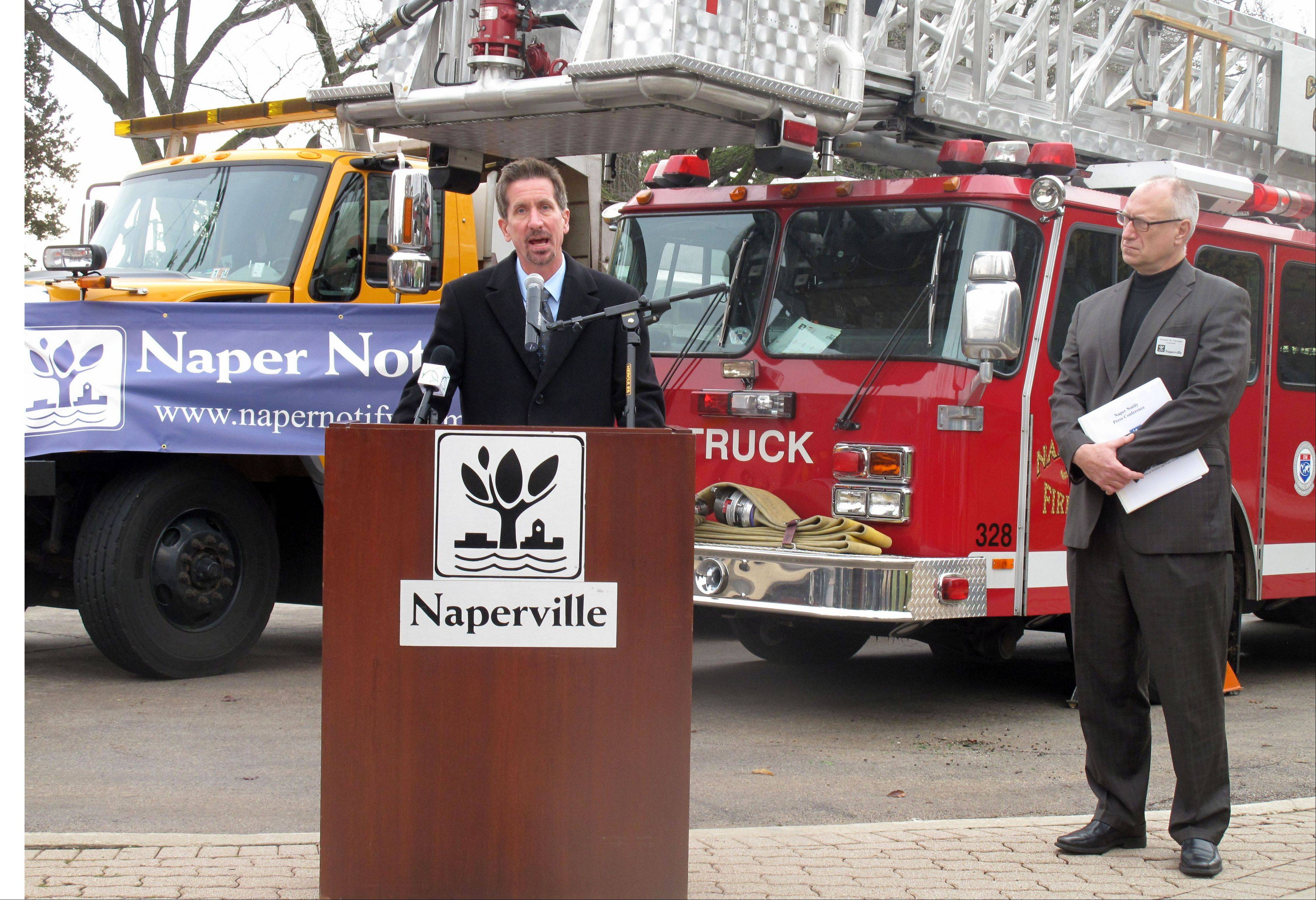 Naperville City Manager Doug Krieger explains the type of emergency and community notifications the city now can send through the Naper Notify system, which launched Thursday morning. People can create a free account to receive alerts at napernotify.com.