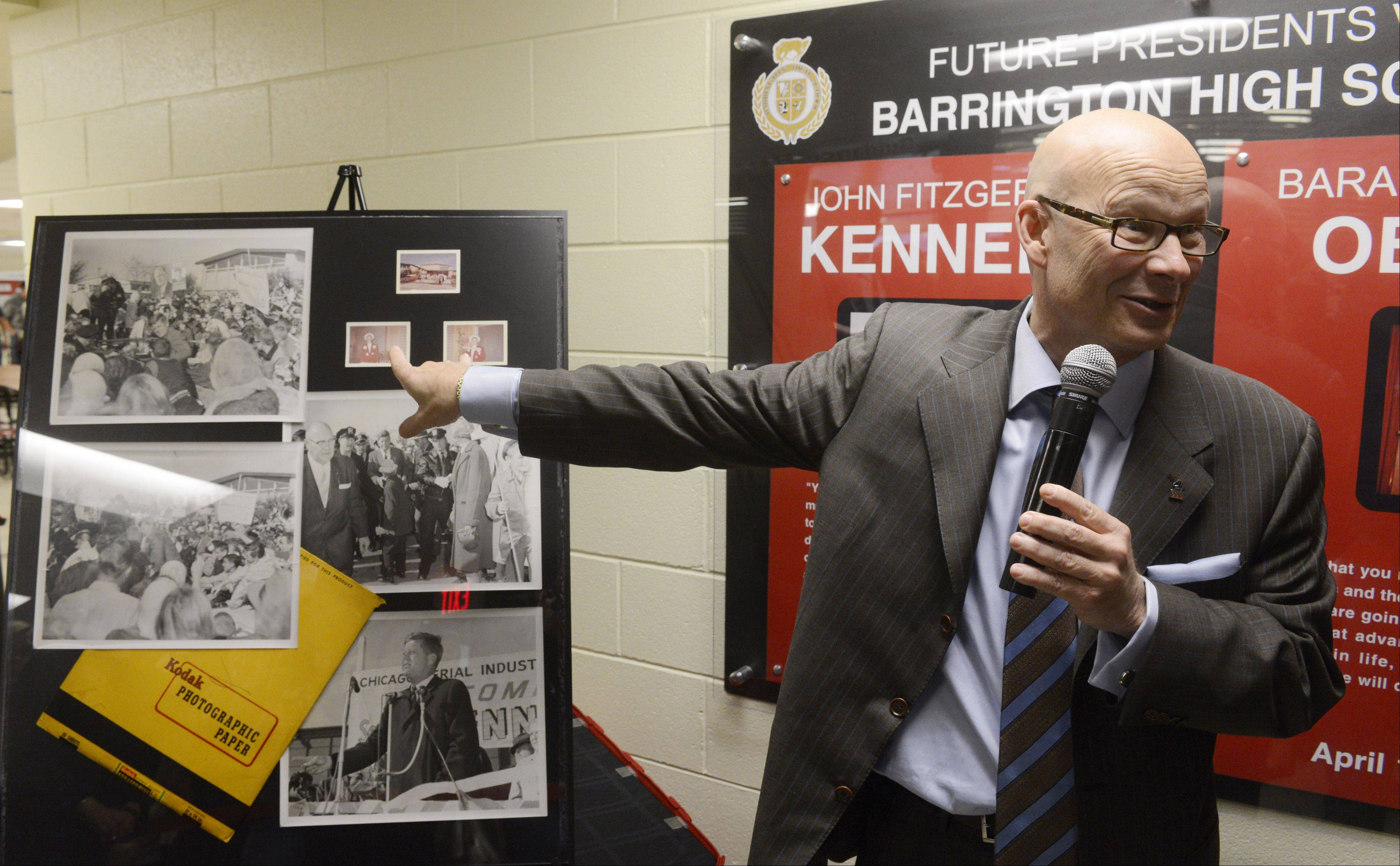 Barrington Unit District 220 Superintendent Tom Leonard talks about newly discovered photos of John F. Kennedy's October 1960 visit to Barrington High School, which were unveiled Tuesday at the school.