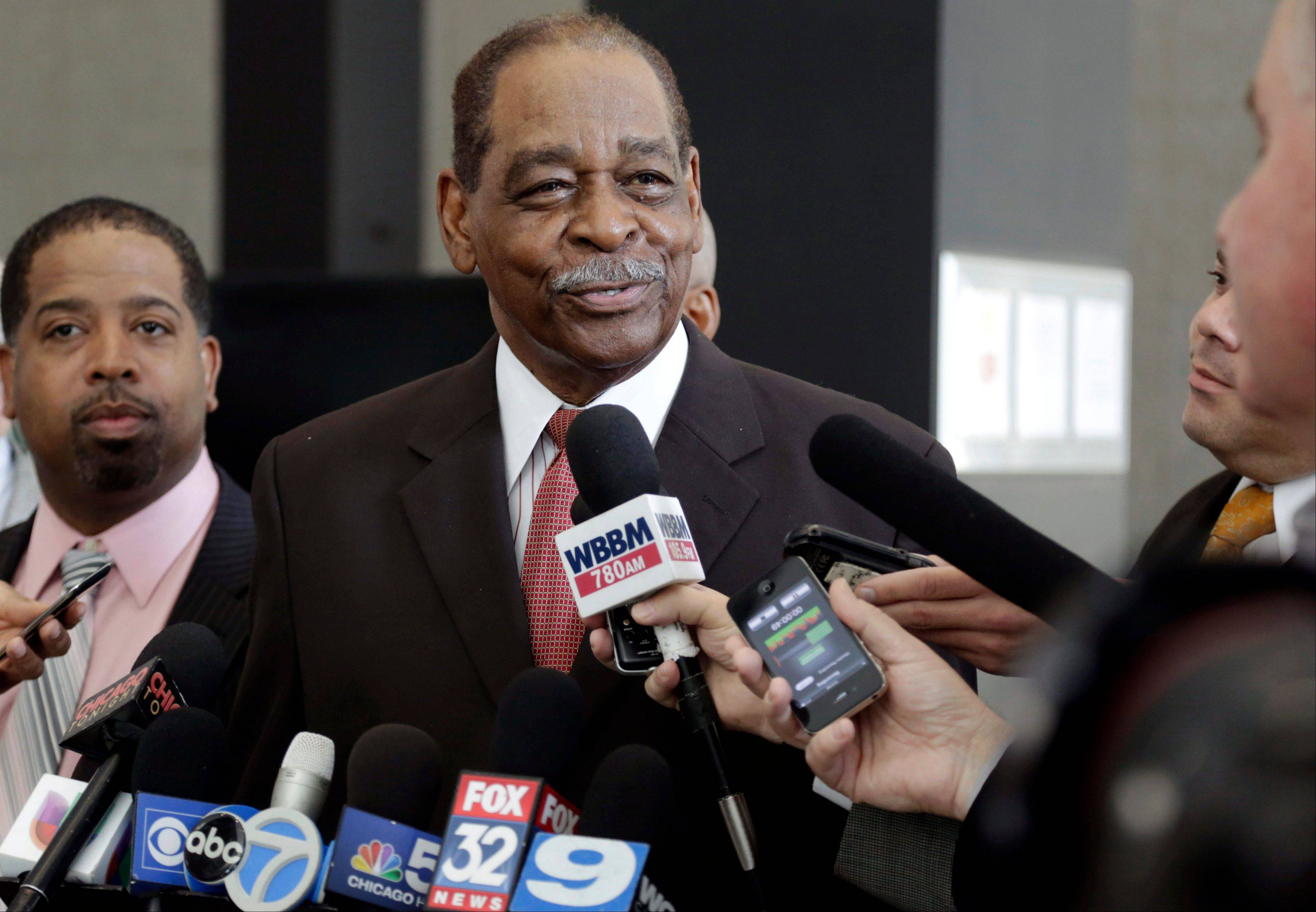 Former Cook County Commissioner William Beavers speaks at a news conference after being sentenced on Sept. 25.