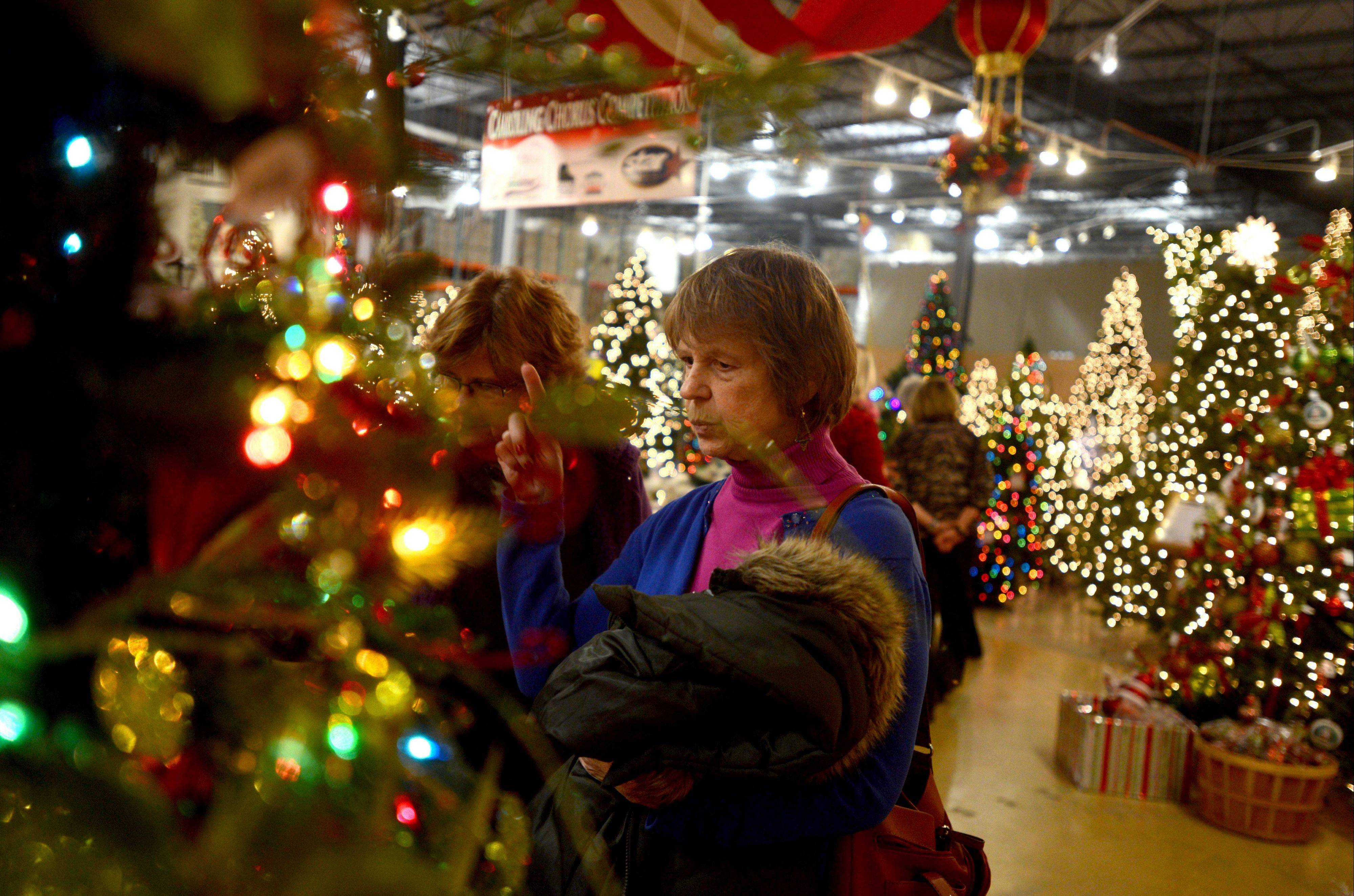 Carol Zavatsky of Arlington Heights looks at decorated trees and ornaments Wednesday during an event Wednesday at TreeTime in Lake Barrington. The event, sponsored by the Daily Herald for subscribers, also kicked off an annual holiday lights contest, with prizes for the best home holiday lights displays in the suburbs.