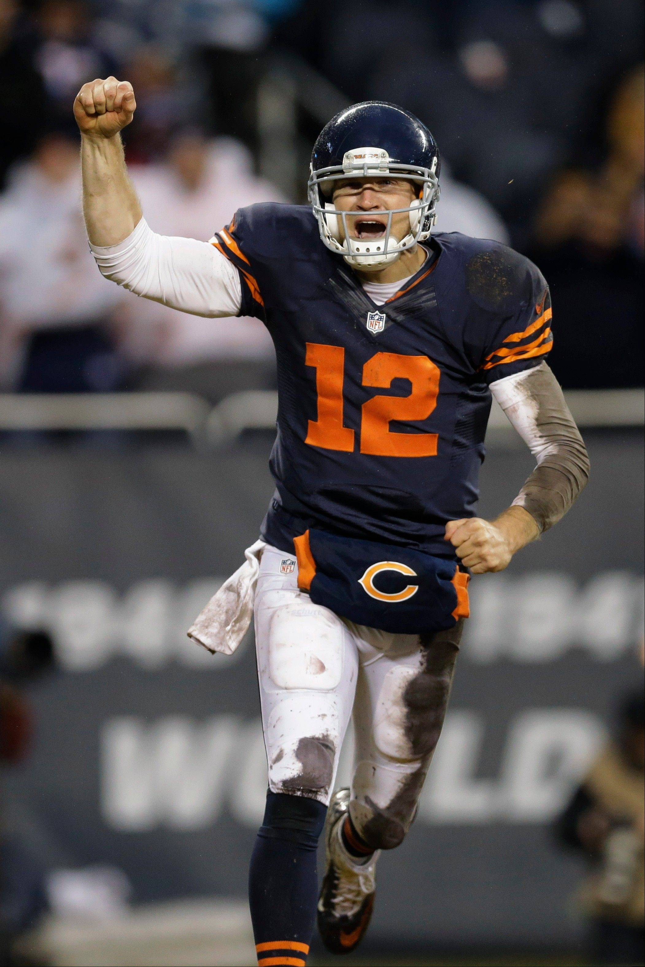 Bears quarterback Josh McCown (12) celebrates after throwing a touchdown pass to running back Matt Forte (22) during the second half of an NFL football game against the Baltimore Ravens, Sunday, Nov. 17, 2013, in Chicago.
