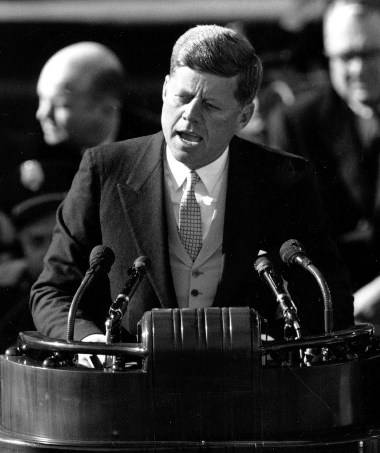 President John F. Kennedy delivers his inaugural address on Jan. 20, 1961, on Capitol Hill in Washington, D.C.