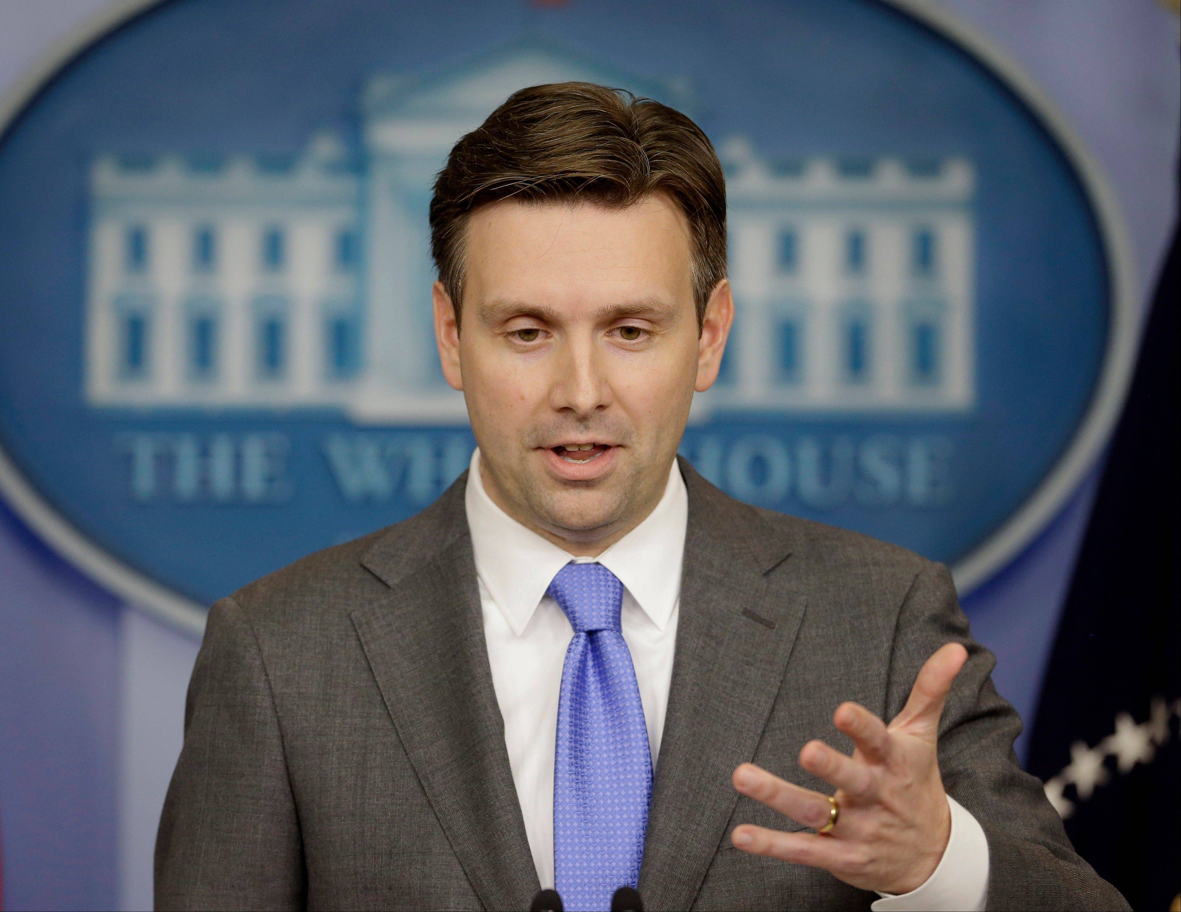 White House principal deputy press secretary Josh Earnest takes a question during the daily news briefing at the White House in Washington, Thursday, Nov. 21, 2013. Earnest responded to a letter submitted by the White House Correspondents Association (WHCA) and other new organizations accusing top officials of blocking access to President Barack Obama and of substituting its own 'visual press release'.