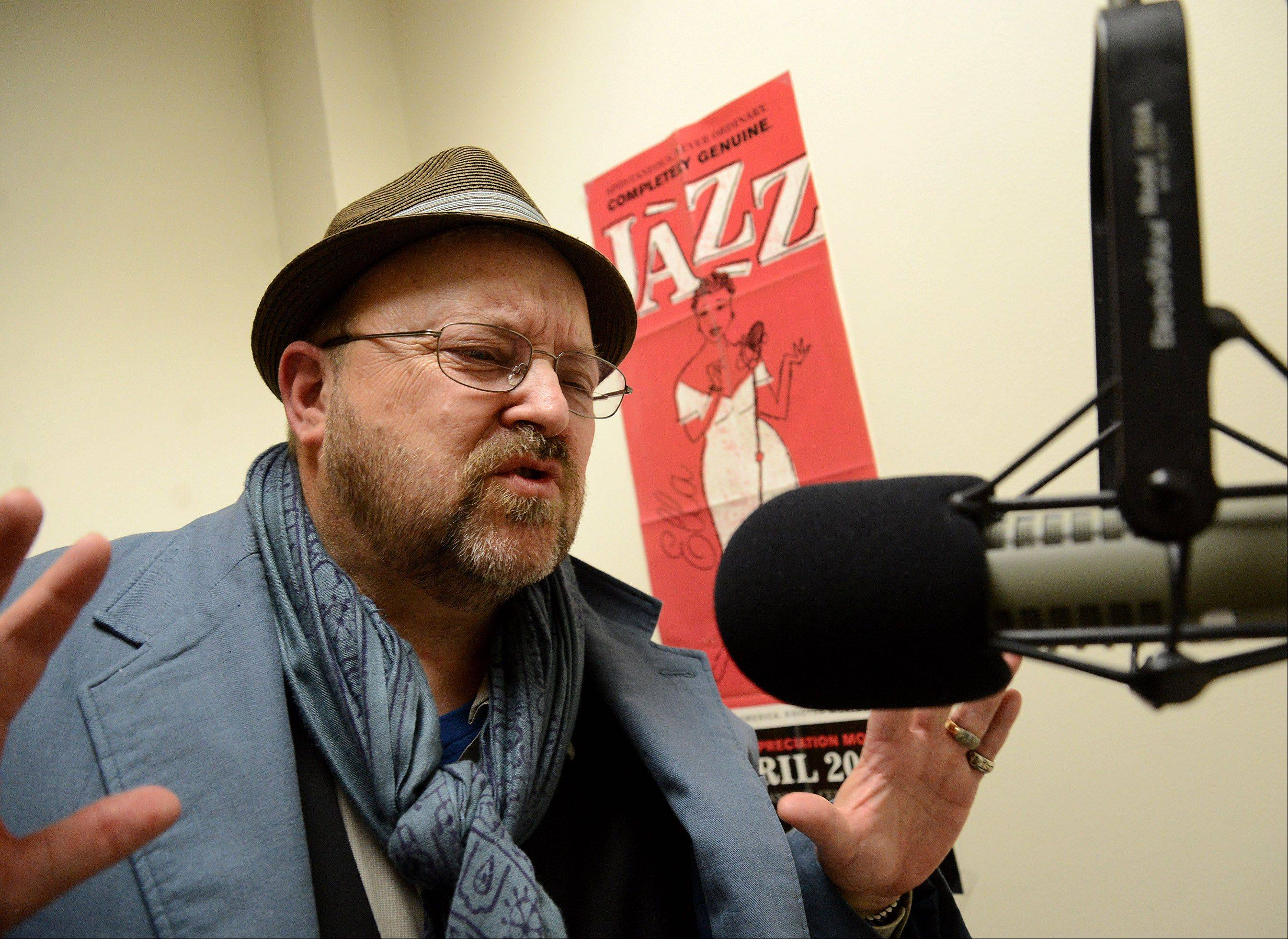 Alan Leinonen, aka Mister Al, performs his Mister Al's Lounge radio program on Harper College's WHCM, 88.3 FM radio station.