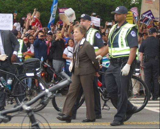 U.S. Rep. Jan Schakowsky, an Evanston Democrat, was arrested last month at an immigration reform rally in Washington.