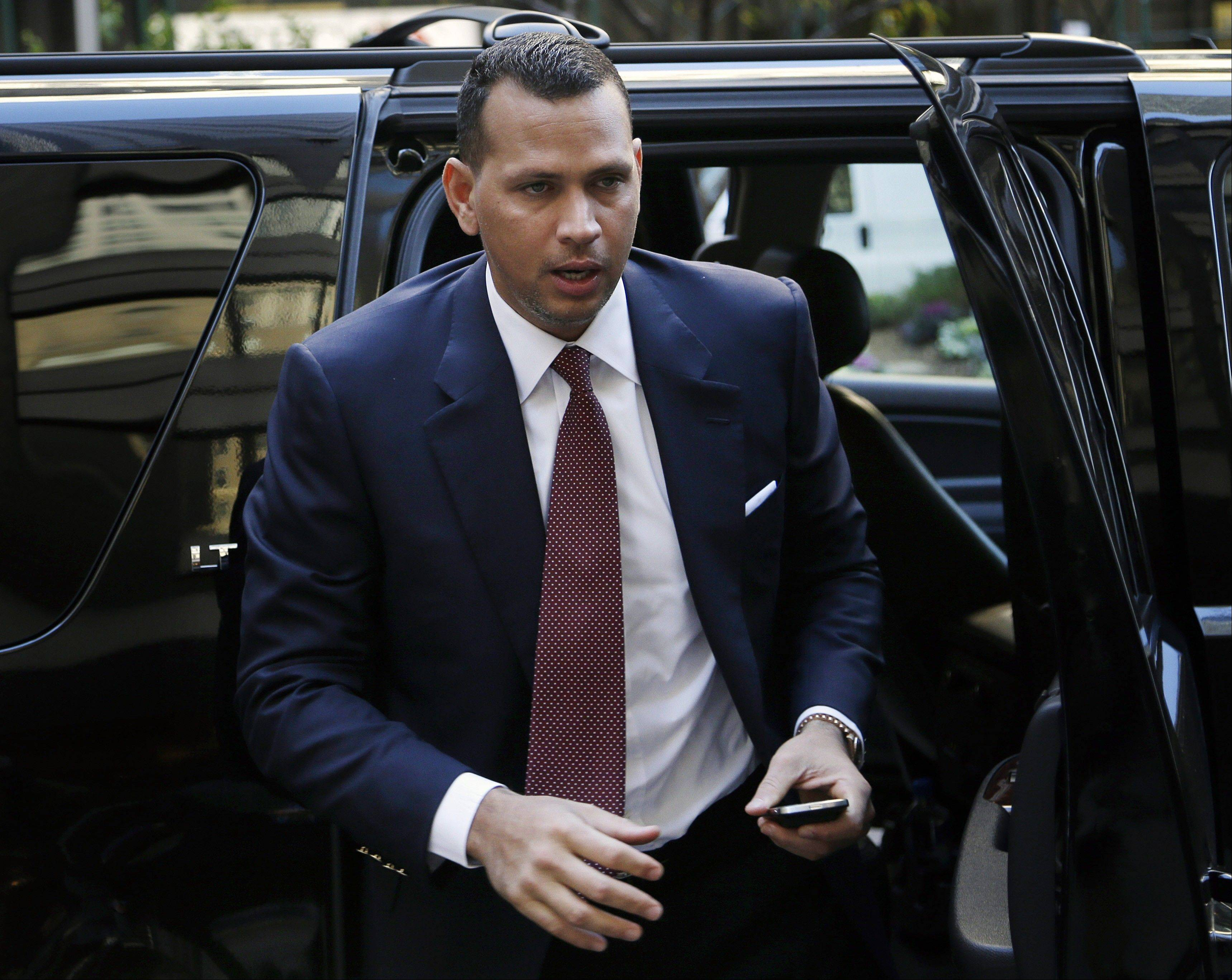 Alex Rodriguez arrives at Major League Baseball headquarters in New York on Tuesday for his grievance hearing.