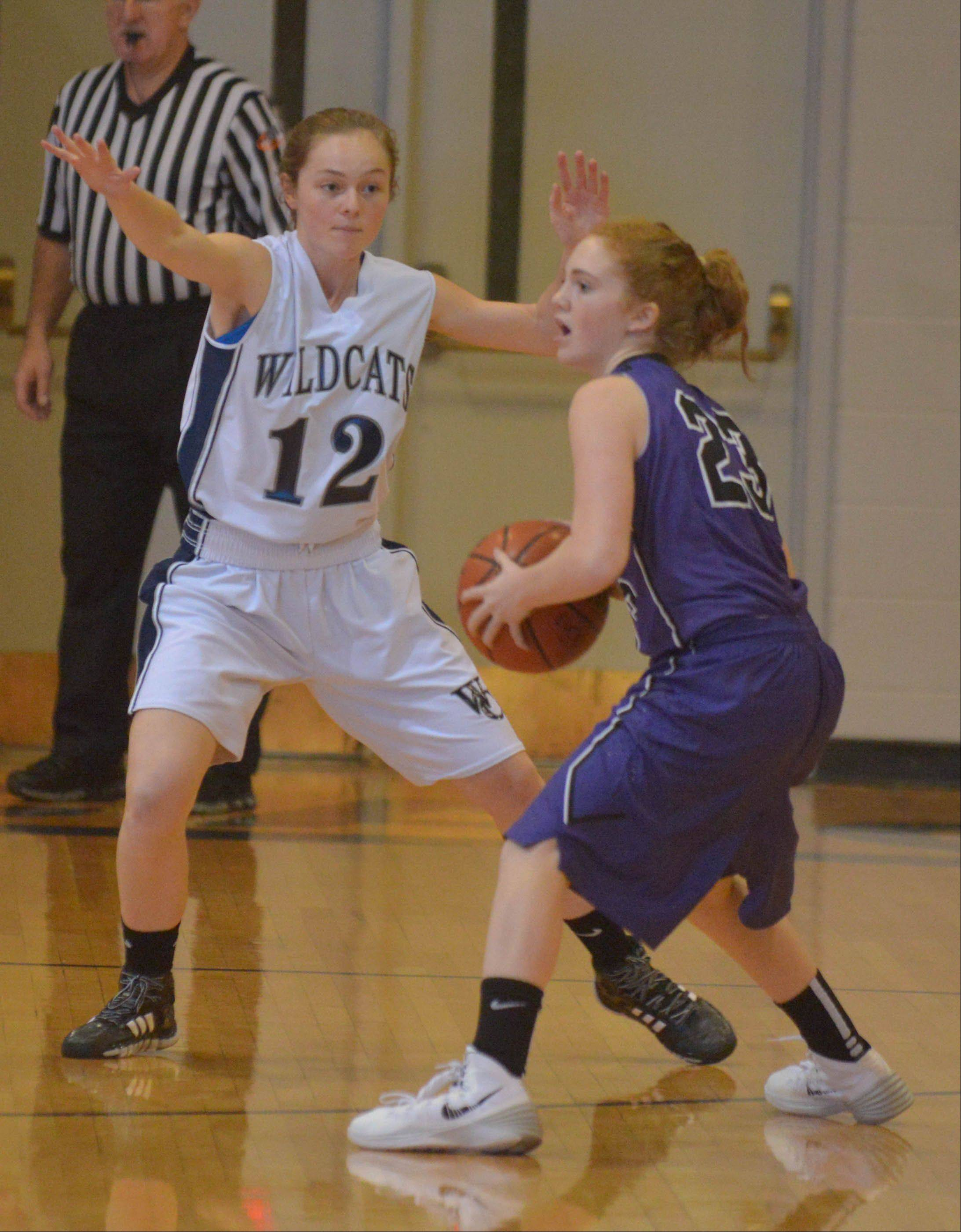 Mae Elizabeth Gimre of West Chicago looks to block Lauren Porcelli of Downers Grove during the Downers Grove North at West Chicago girls basketball game Thursday.