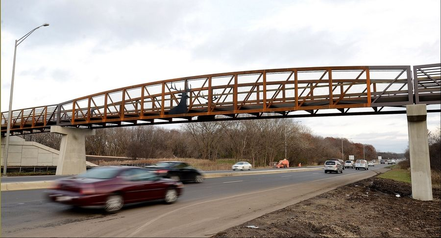 A new $2.7 million overpass dedicated Friday connects the north and south portions of the Busse Woods trail at Higgins Road.