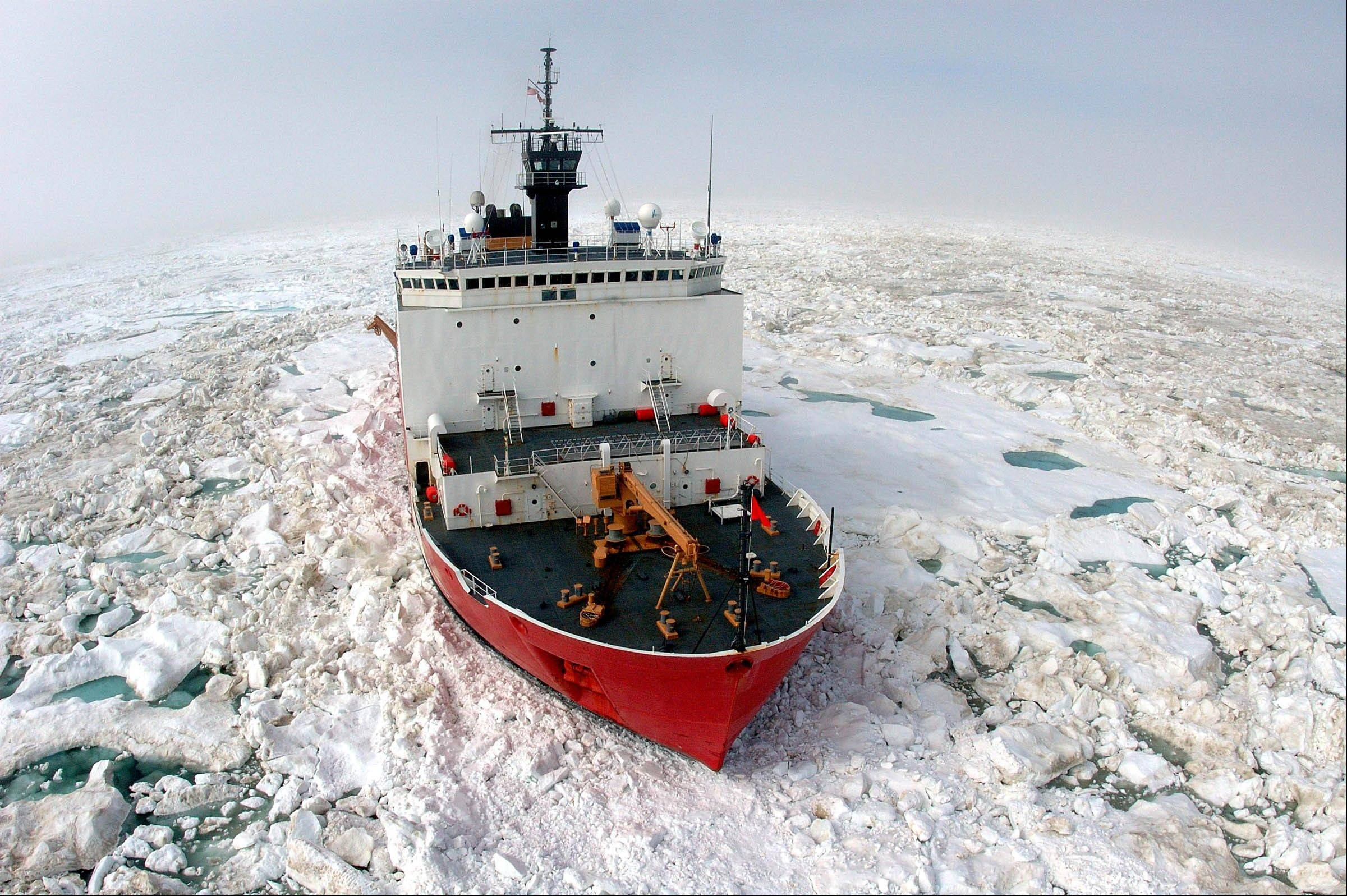 The Coast Guard Cutter Healy breaks ice in the Arctic Ocean near Barrow, Alaska.