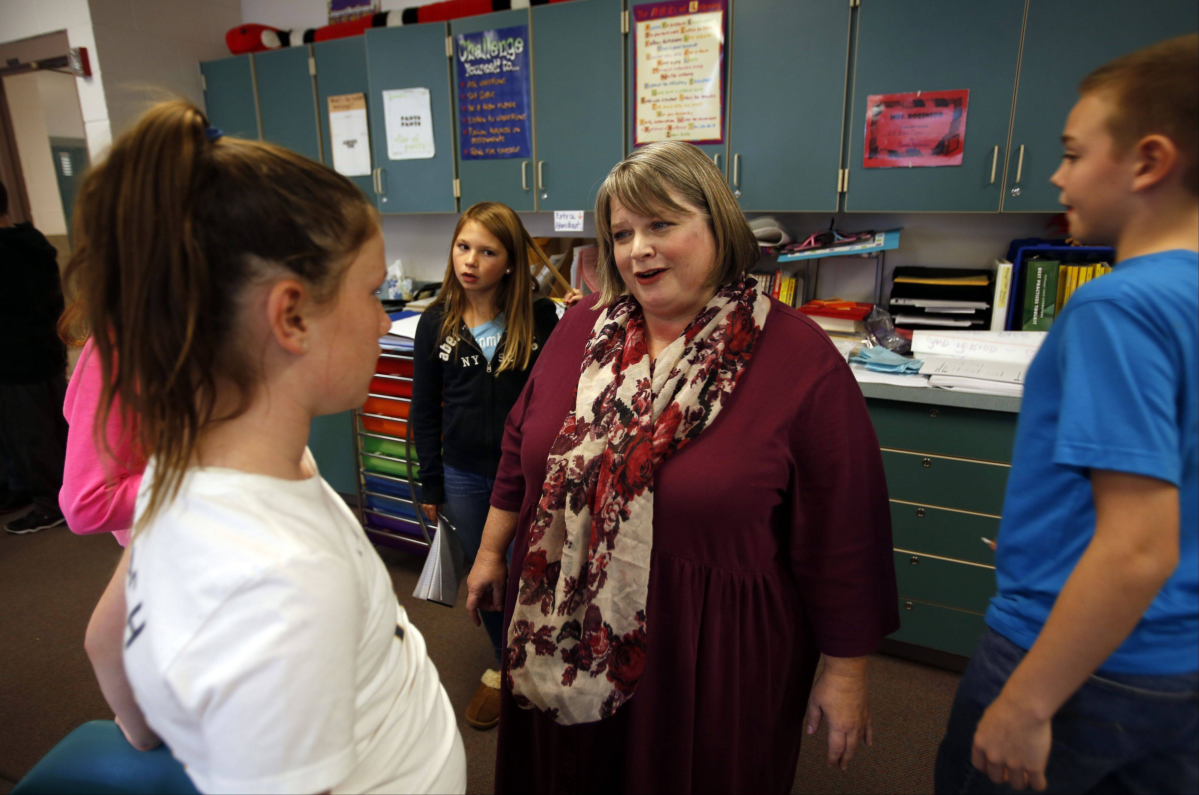 Tina King, who teaches math at Wredling Middle School in St. Charles, finds taking a collaborative approach works best.